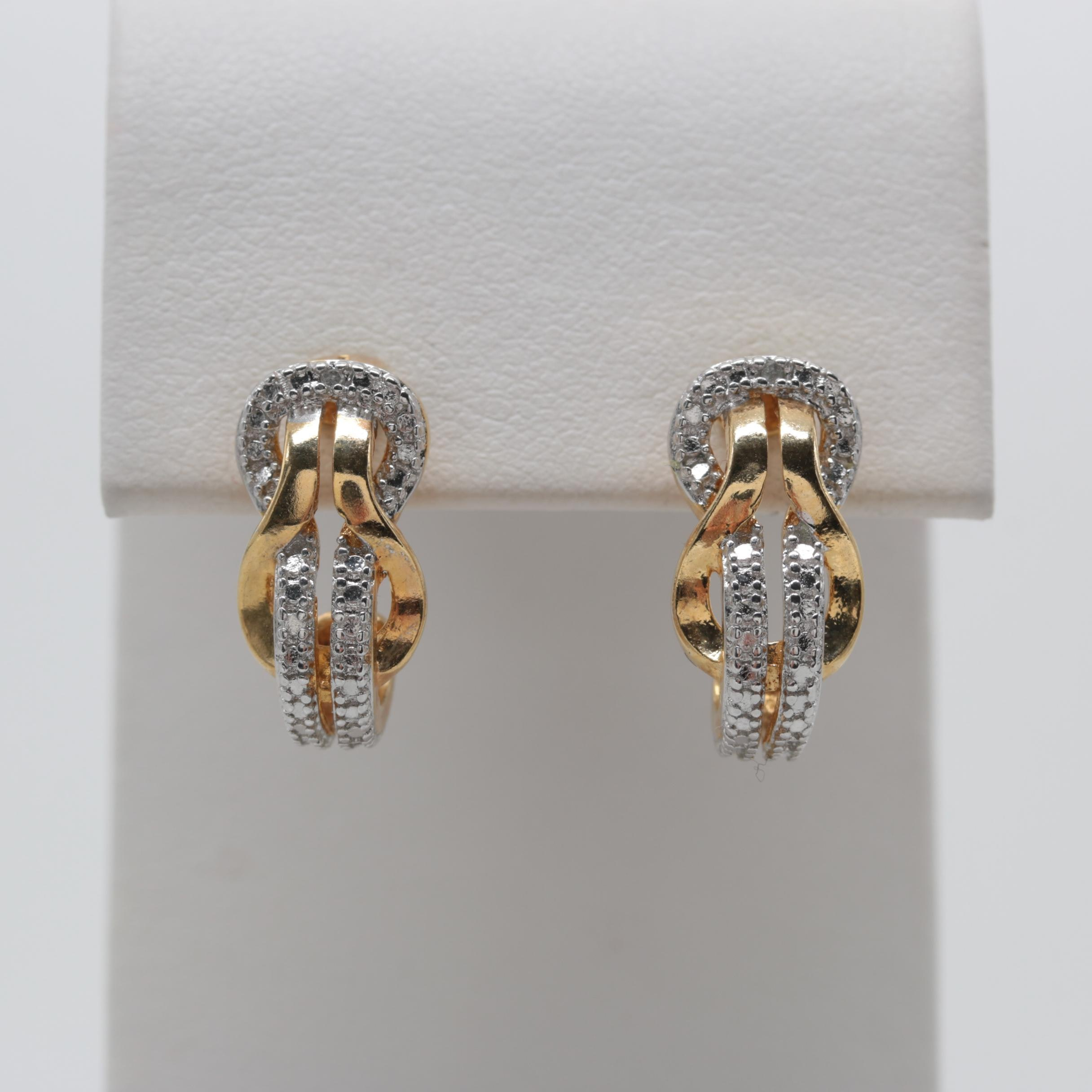 Gold Wash on Sterling Silver Diamond Earrings