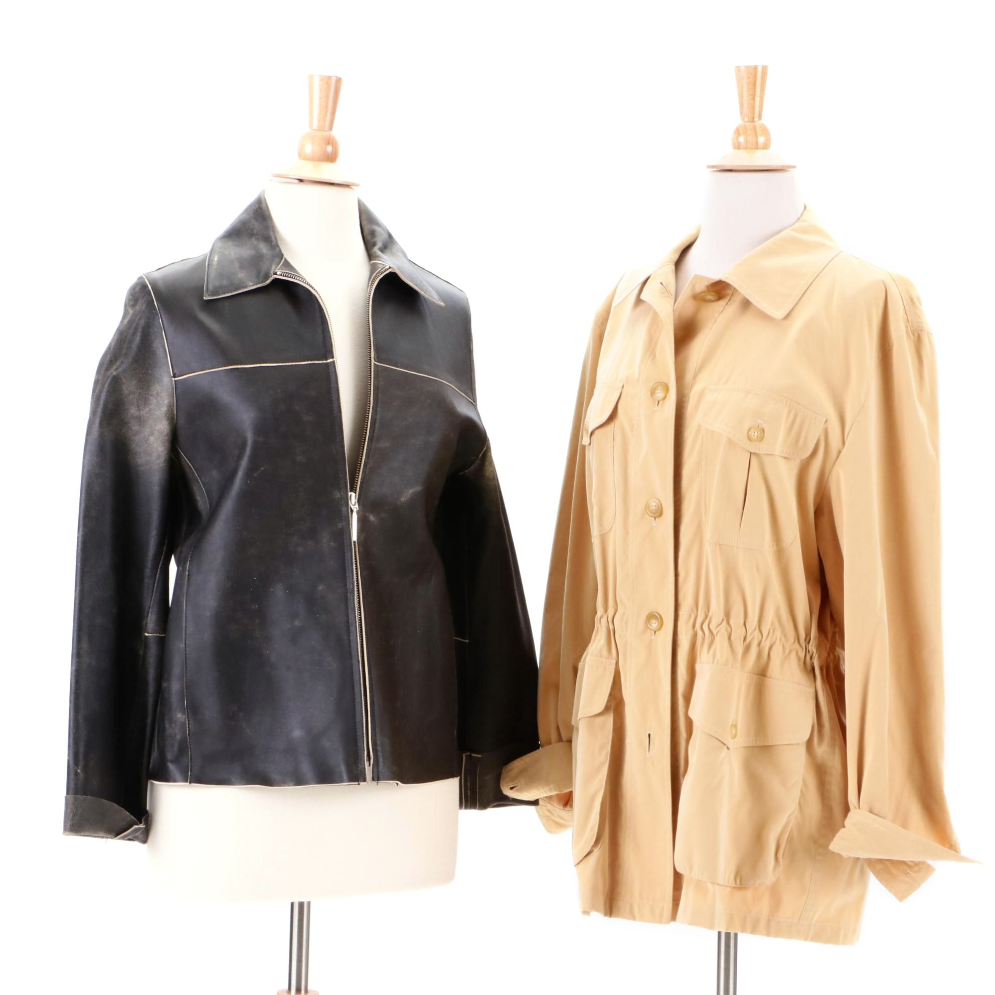 Valstar Buttercream Yellow Microfiber Jacket and Rizal Distressed Leather Jacket