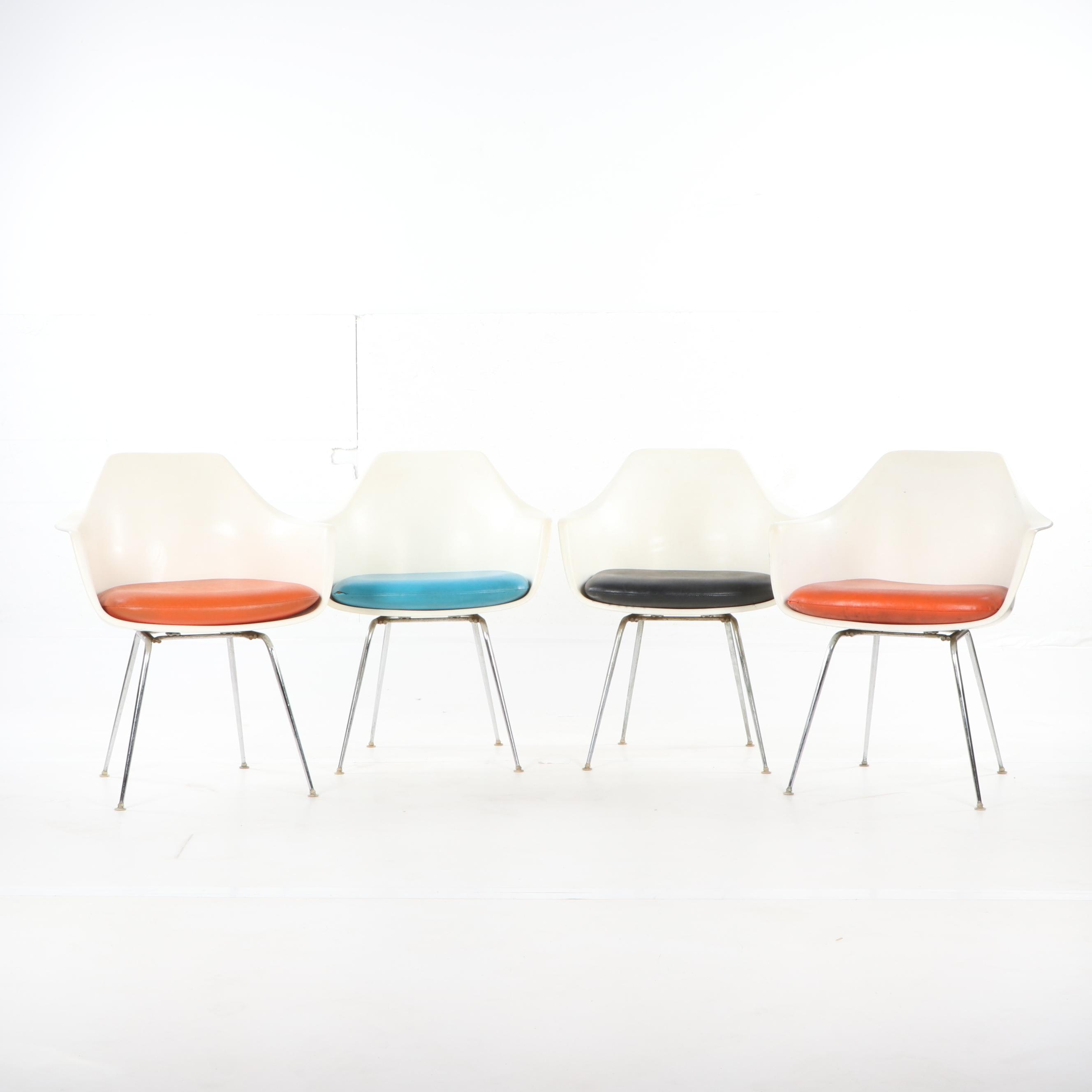 Mid Century Modern Molded Fiberglass Shell Chairs by Burke, Mid-20th Century