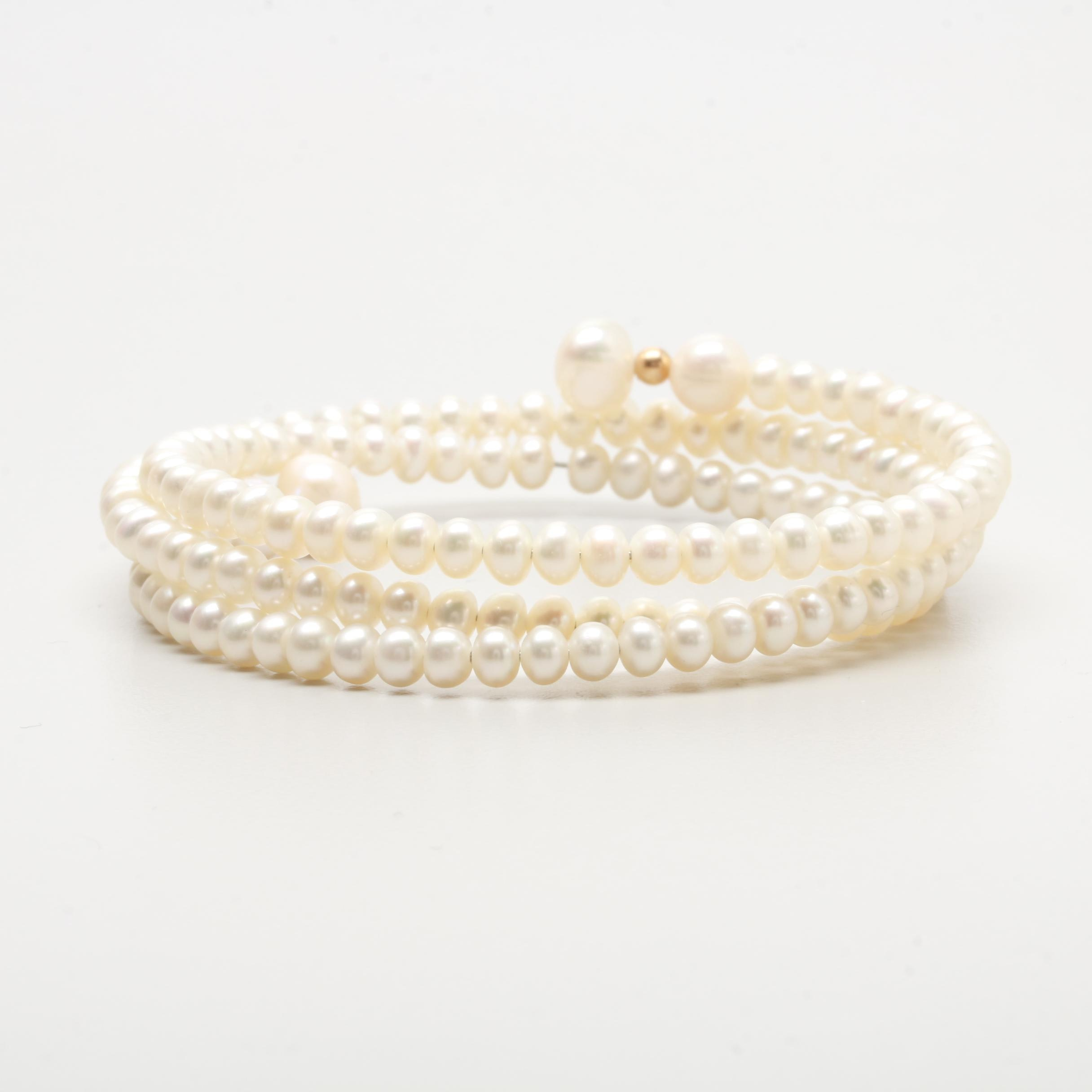 Cultured Pearl Expandable Bracelet with Gold Tone Accent
