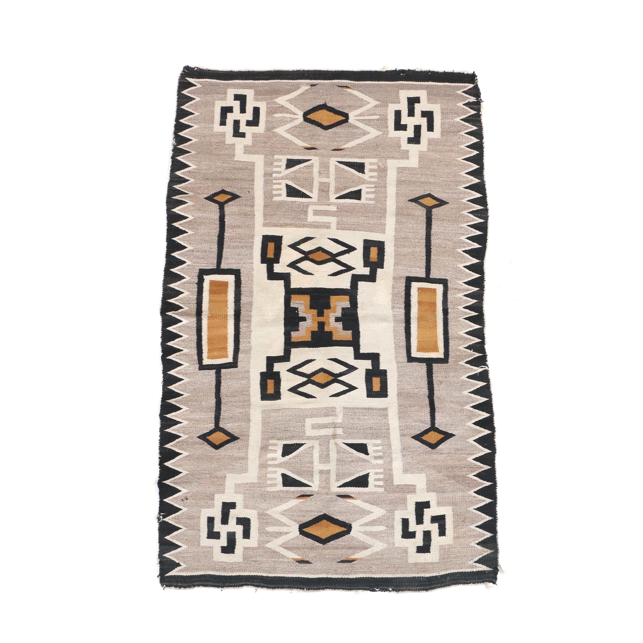 """Handwoven Native American """"Storm Pattern"""" Flatweave Wool Area Rug"""