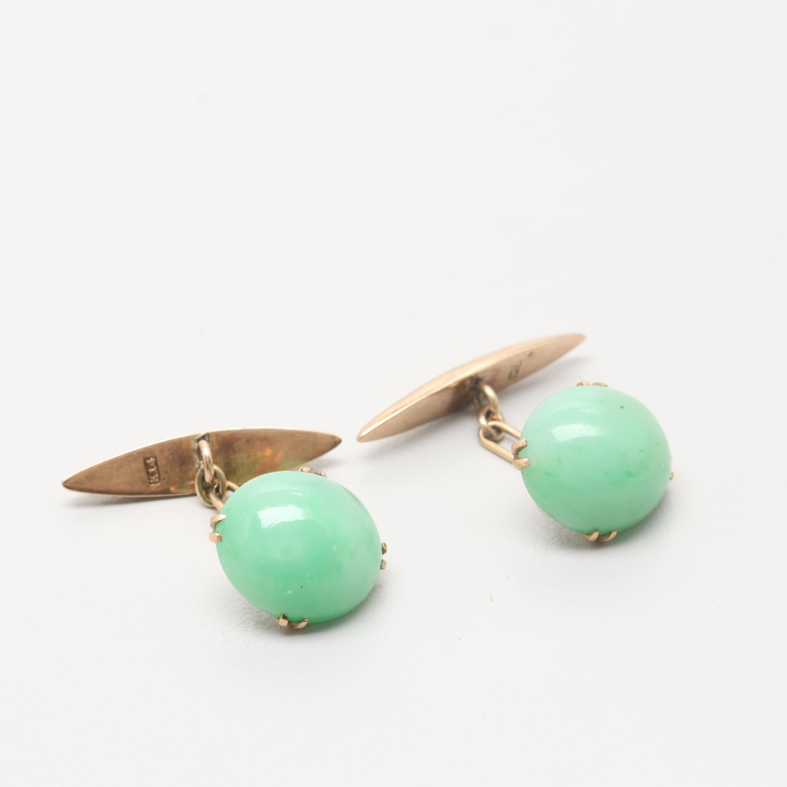 14K Yellow Gold Jadeite Cufflinks