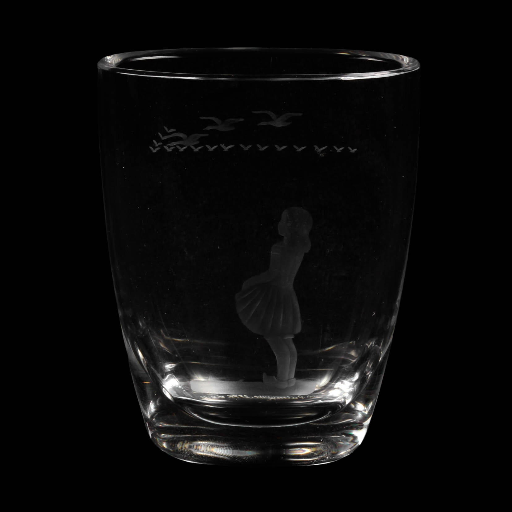 Orrefors Girl With Seagulls Etched Crystal Vase