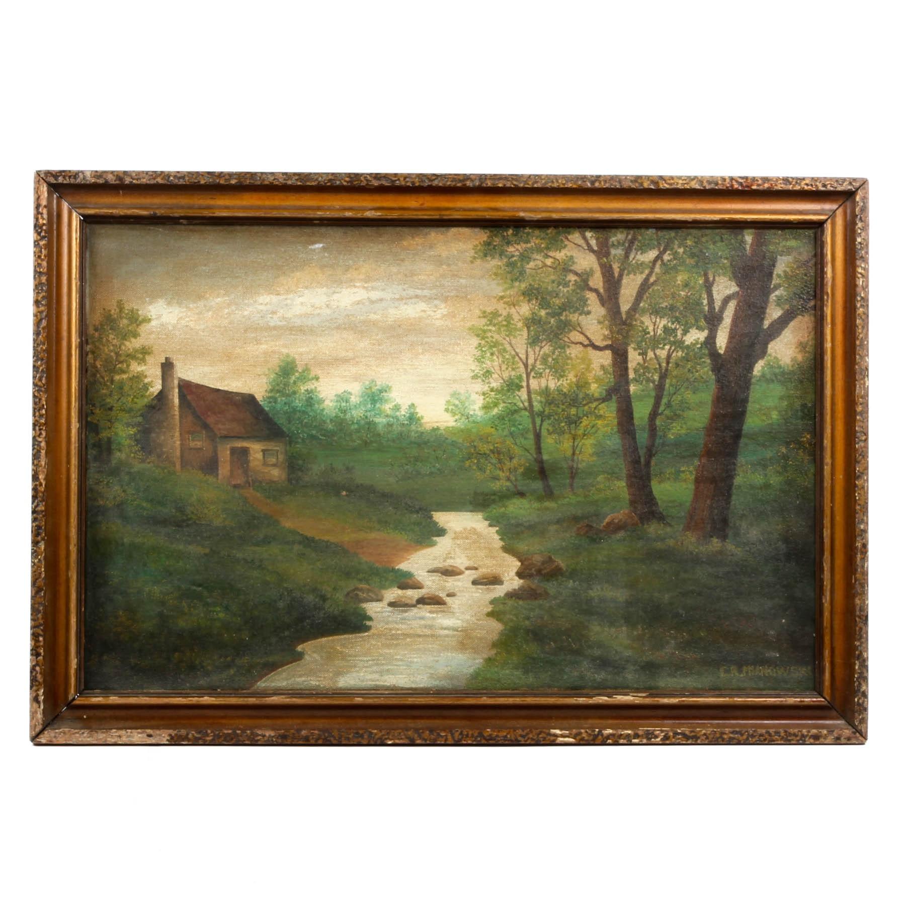 C.R. Mianowski Oil Painting of Rural Landscape