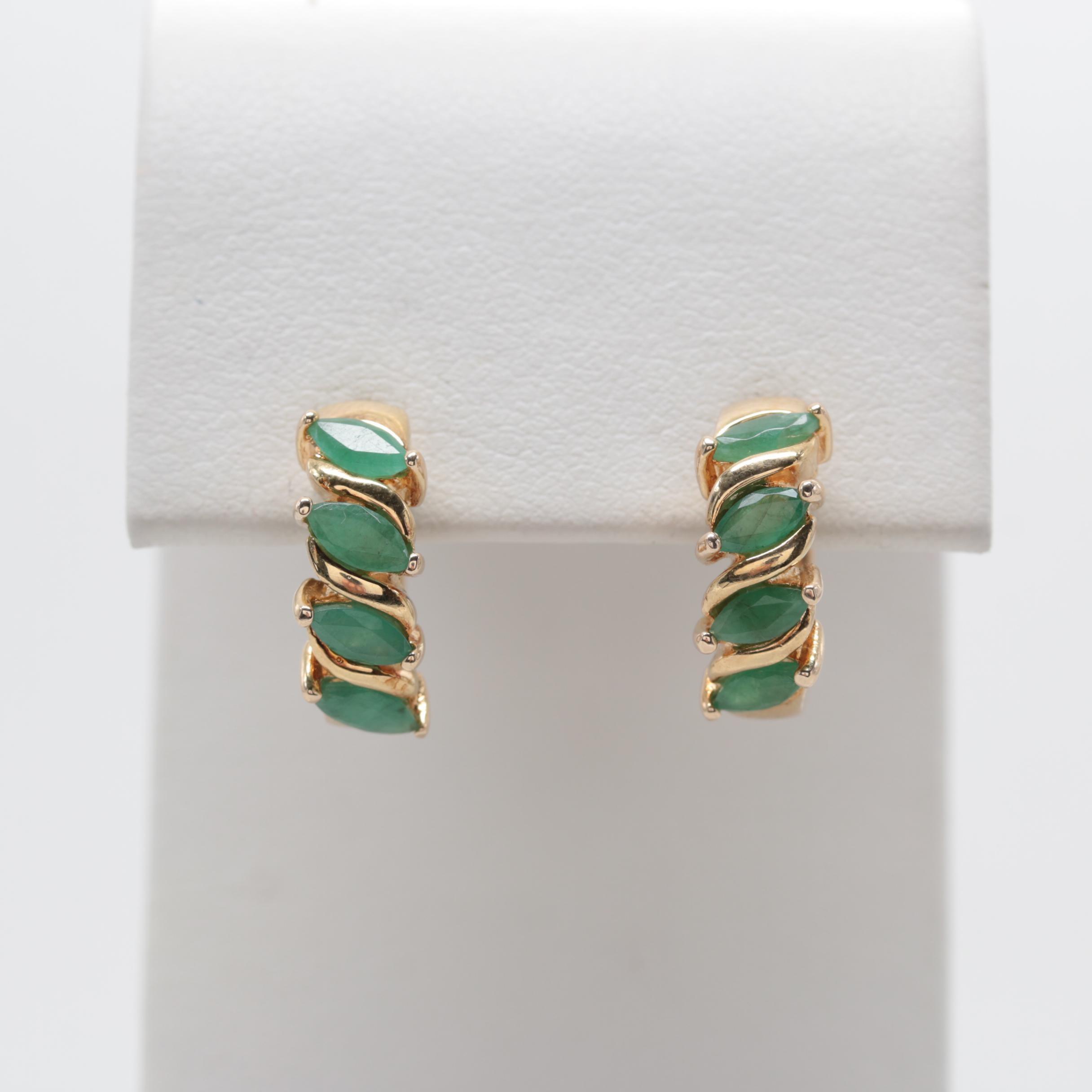 Gold Wash on Sterling Silver Emerald Hoop Earrings