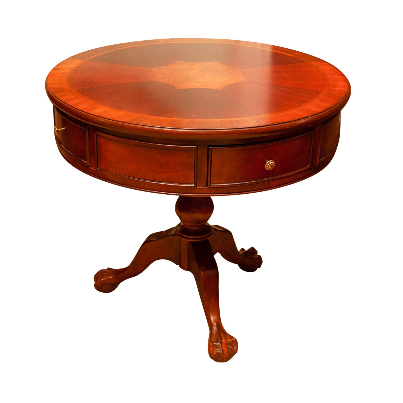 Federal Style Mahogany and Parquetry Drum Table, Late 20th Century
