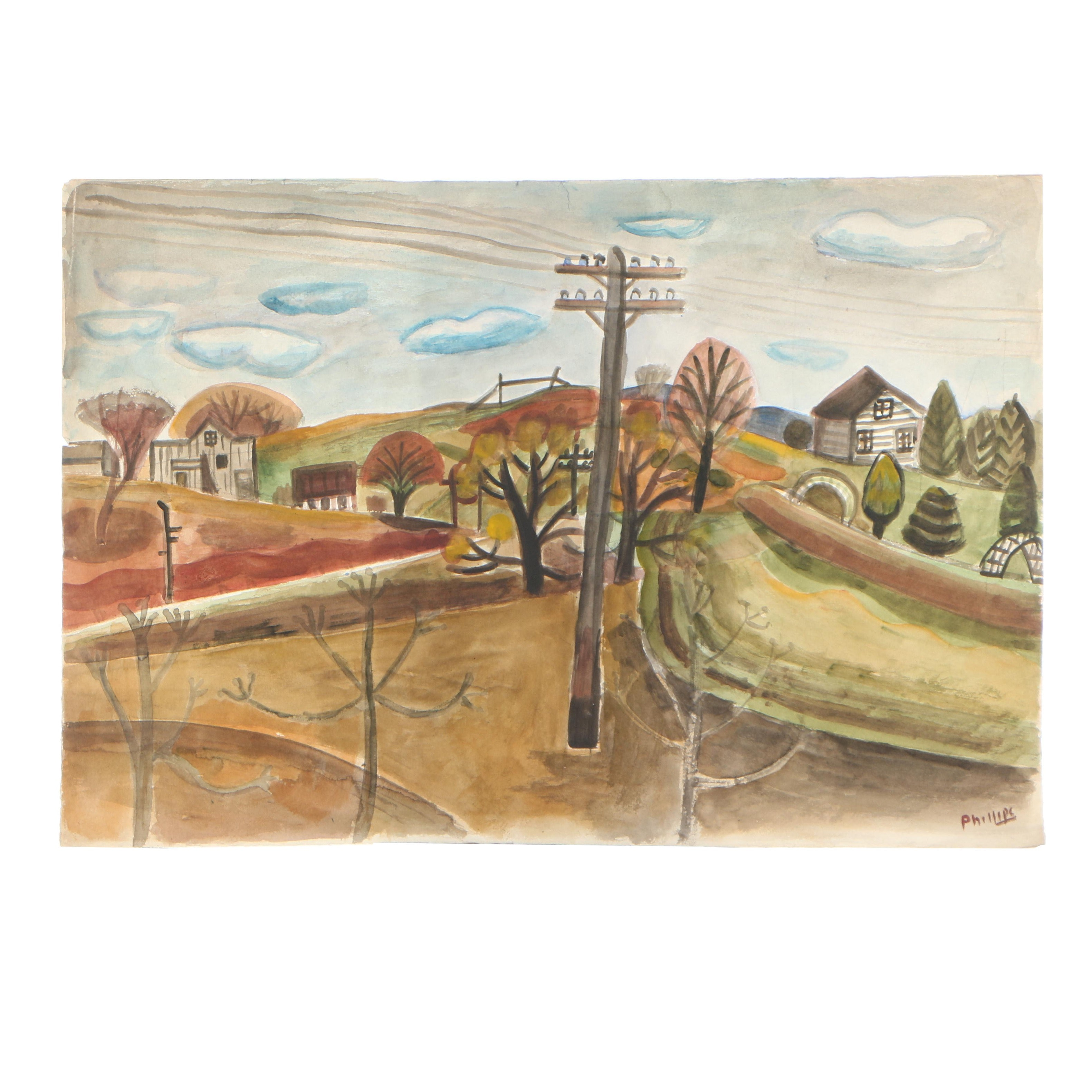Esther Phillips Watercolor on Paper Rural Town Scene
