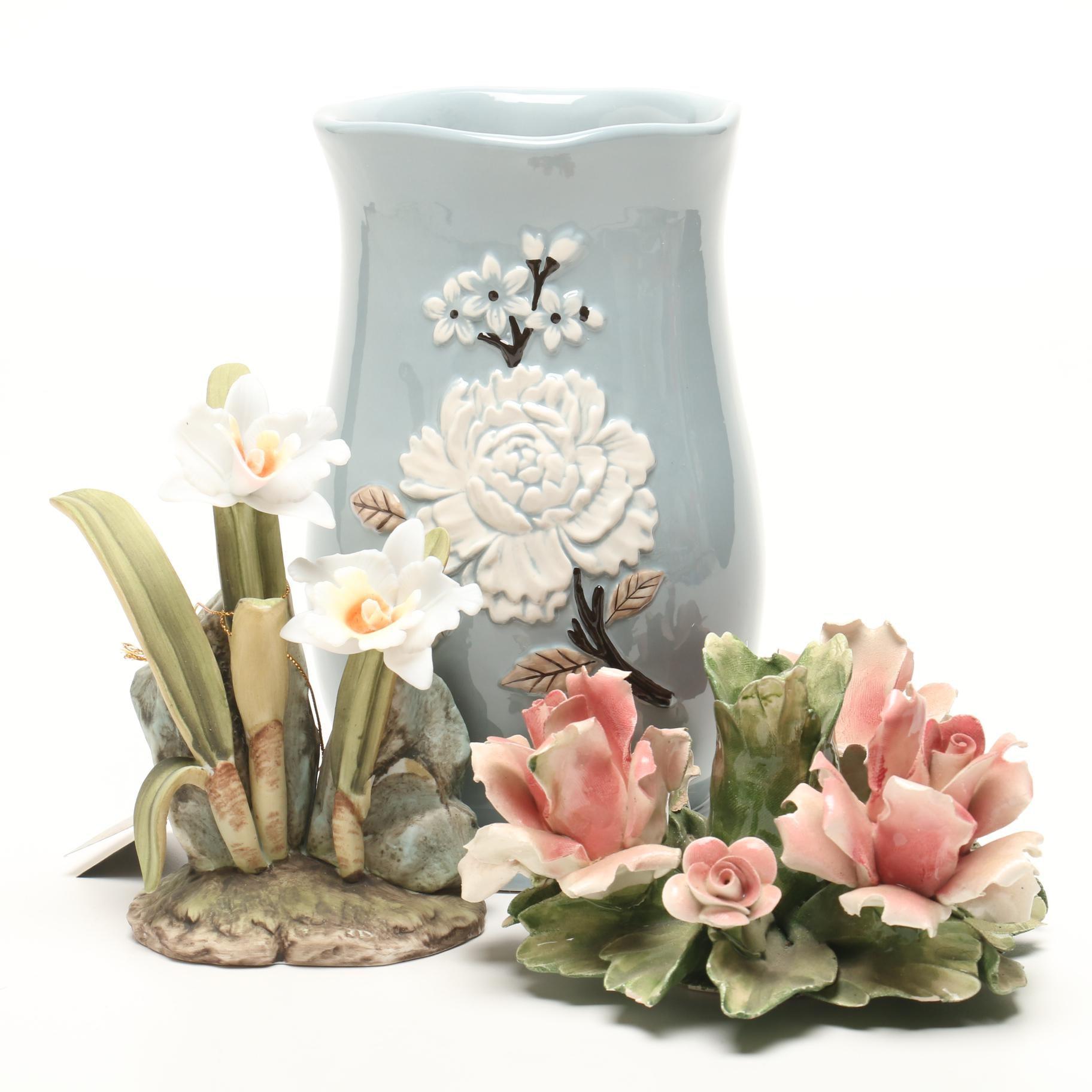 Mallory Lane Vase and Ceramic Flowers