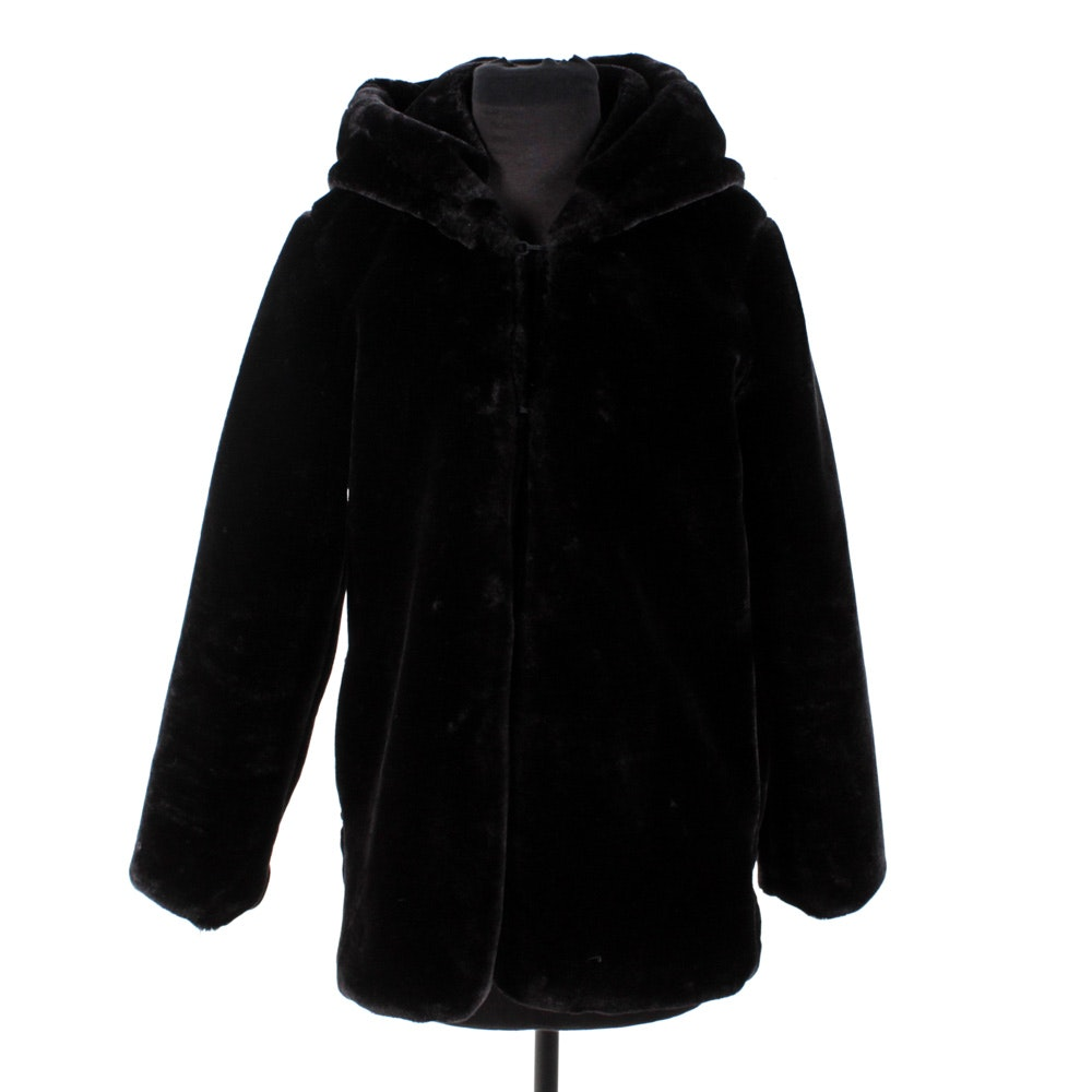 Women's Black Faux Fur Hooded Jacket by Part Queen