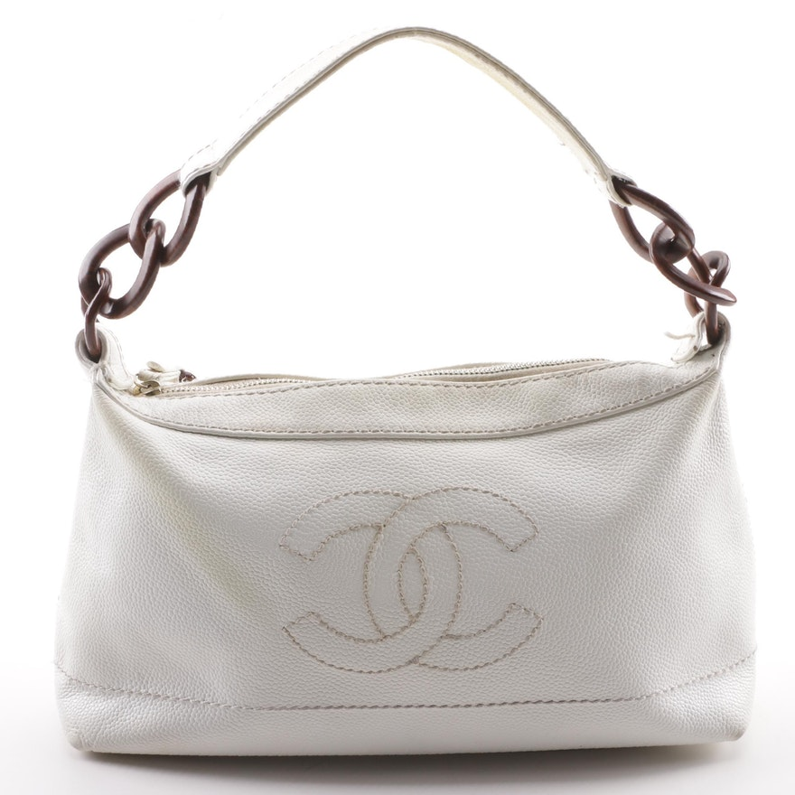 973be127bf38c3 Chanel White Caviar Leather CC Wood Chain Hobo Bag : EBTH