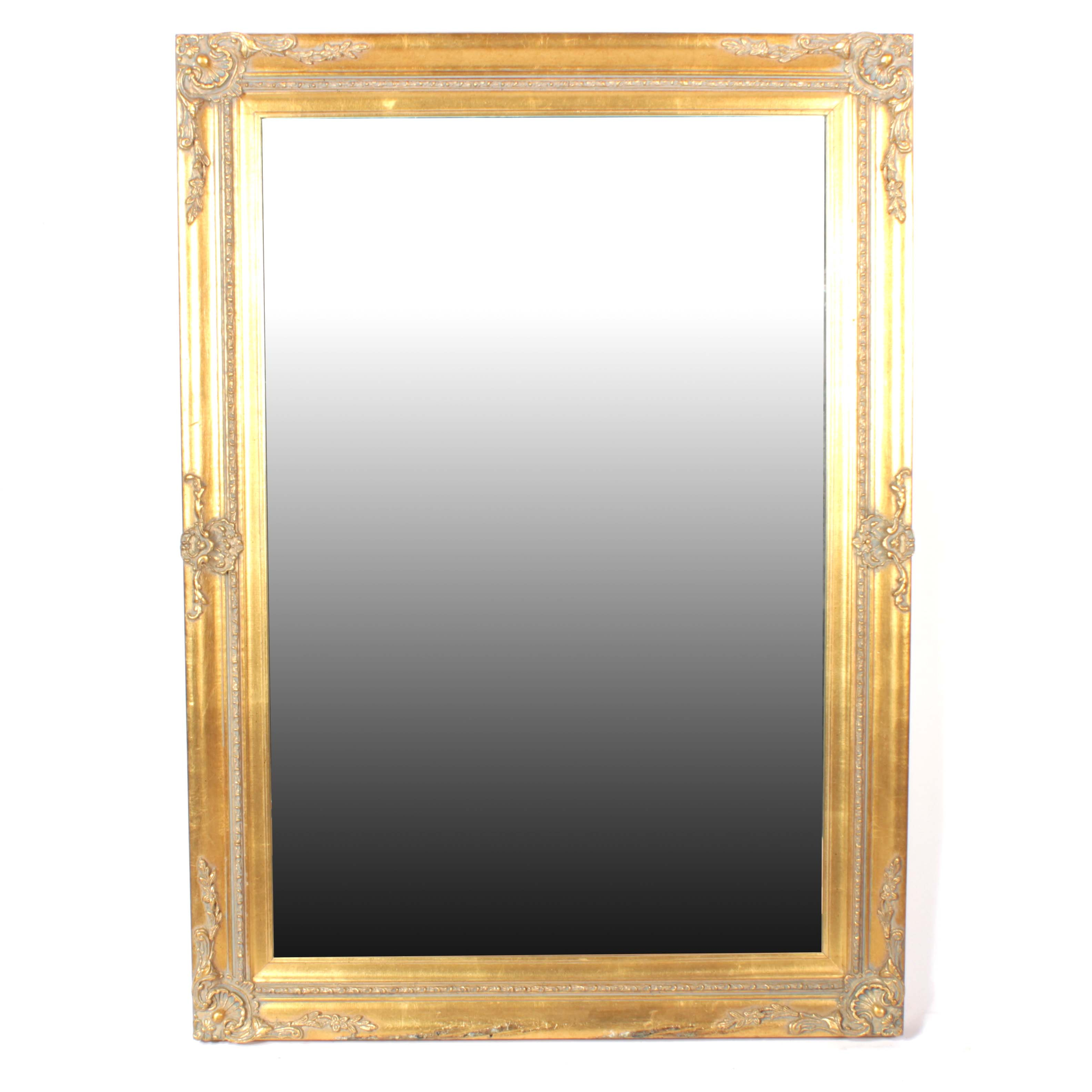 Rectangular Parcel Gilt Wall Mirror with Rocaille Decoration