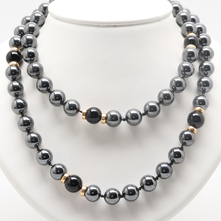 8d99739f0897a2 14K Yellow Gold Synthetic Hematite and Black Onyx Necklace : EBTH