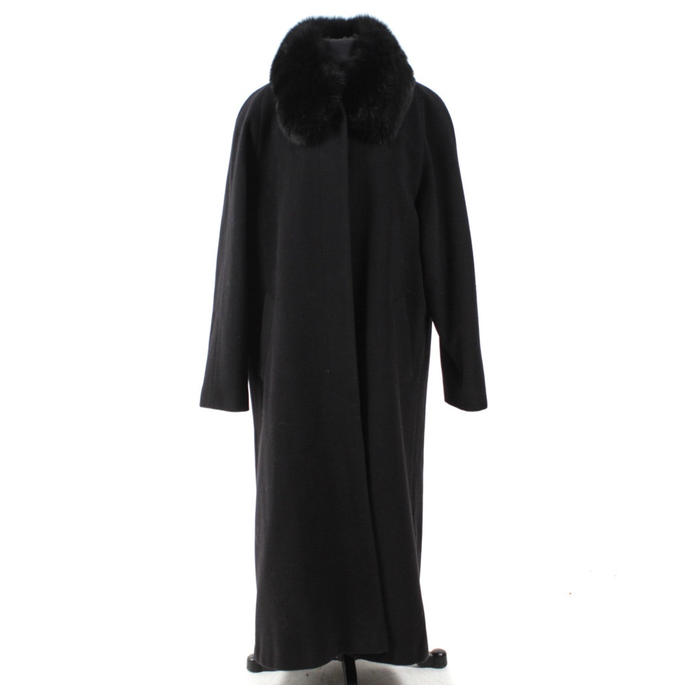 Women's Black Forecaster Coat with Fox Fur Trim