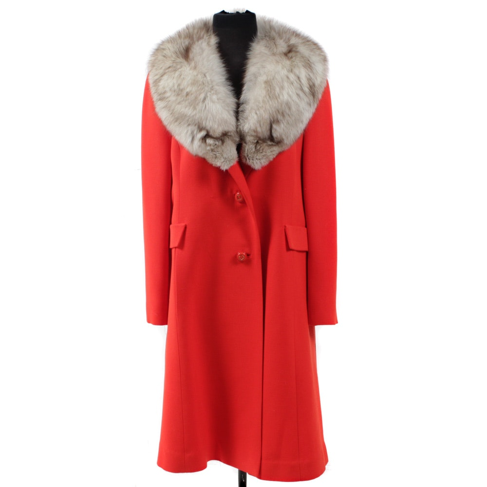 Vintage Orange Car Coat with Fox Fur Collar