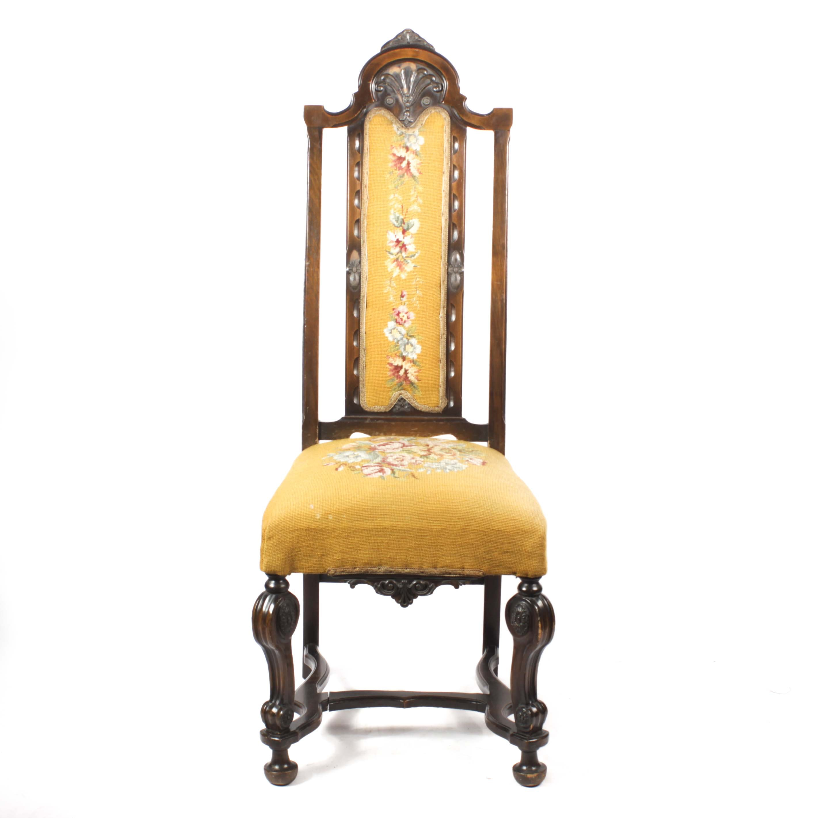 Victorian Walnut Chair With Needlepoint Upholstery, Early 20th Century
