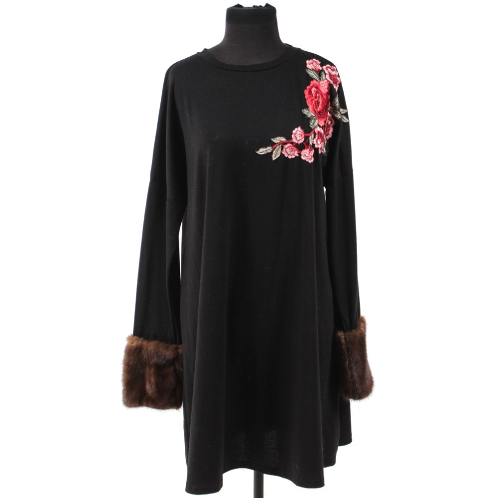 Women's Black Shirt Dress with Rose Appliqué and Mink Sleeves