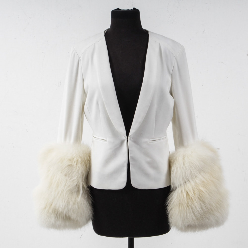 Women's Saint Tropez White Jacket with Fox Fur Cuffs
