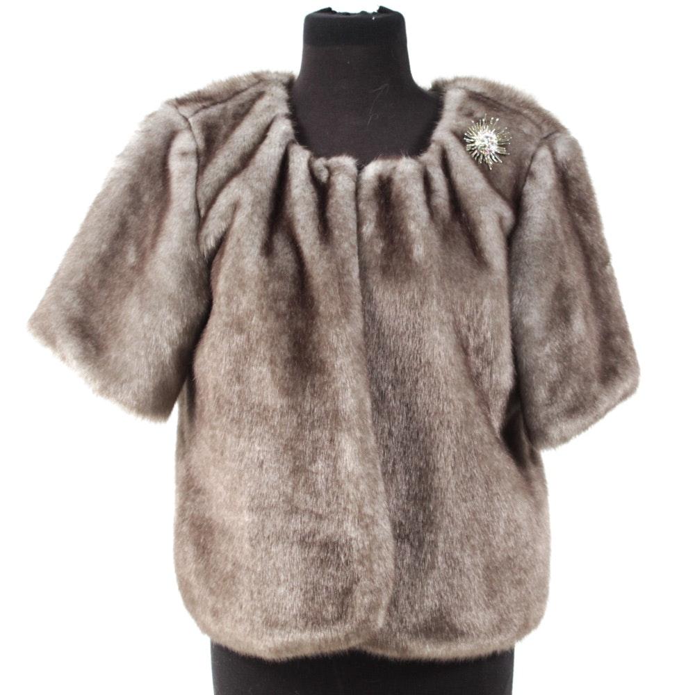 Women's Silver Faux Fur Cape with Rhinestone Brooch