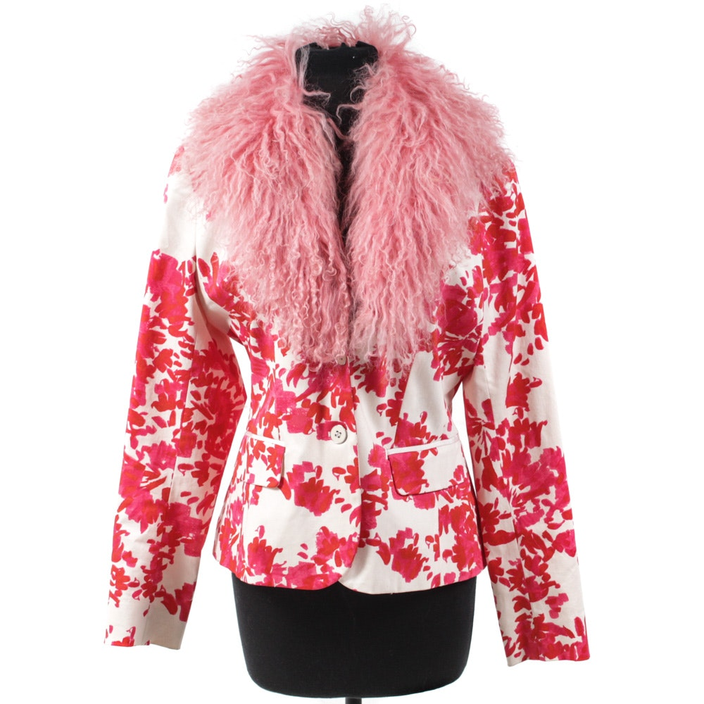 Women's Patterned Pink and White Jacket with Dyed Mongolian Lamb Fur Collar