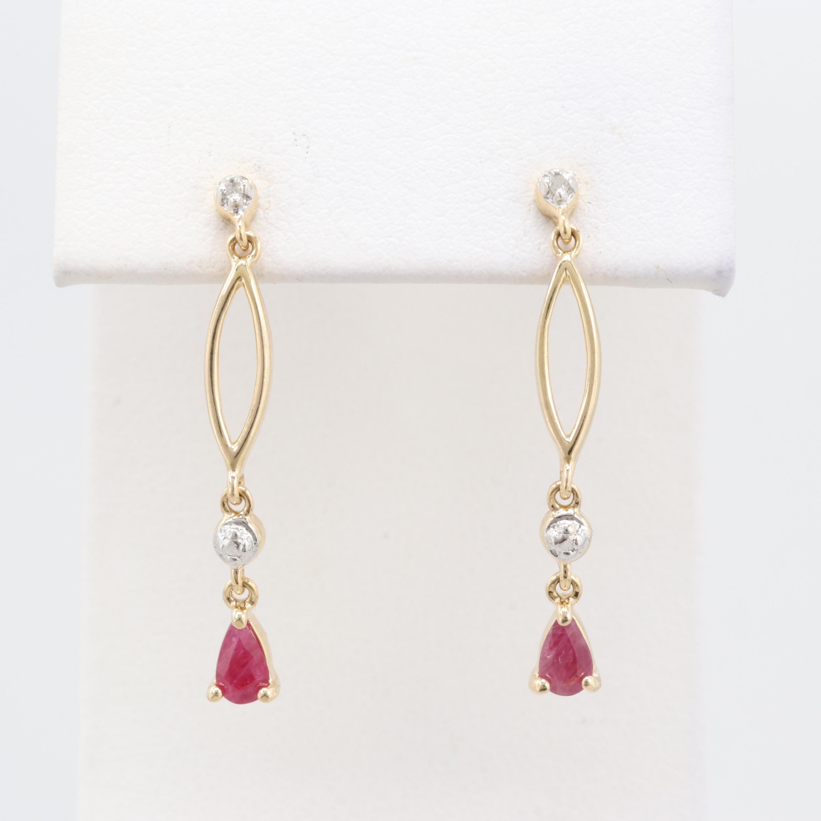 Gold Wash on Sterling Silver Ruby and Diamond Earrings