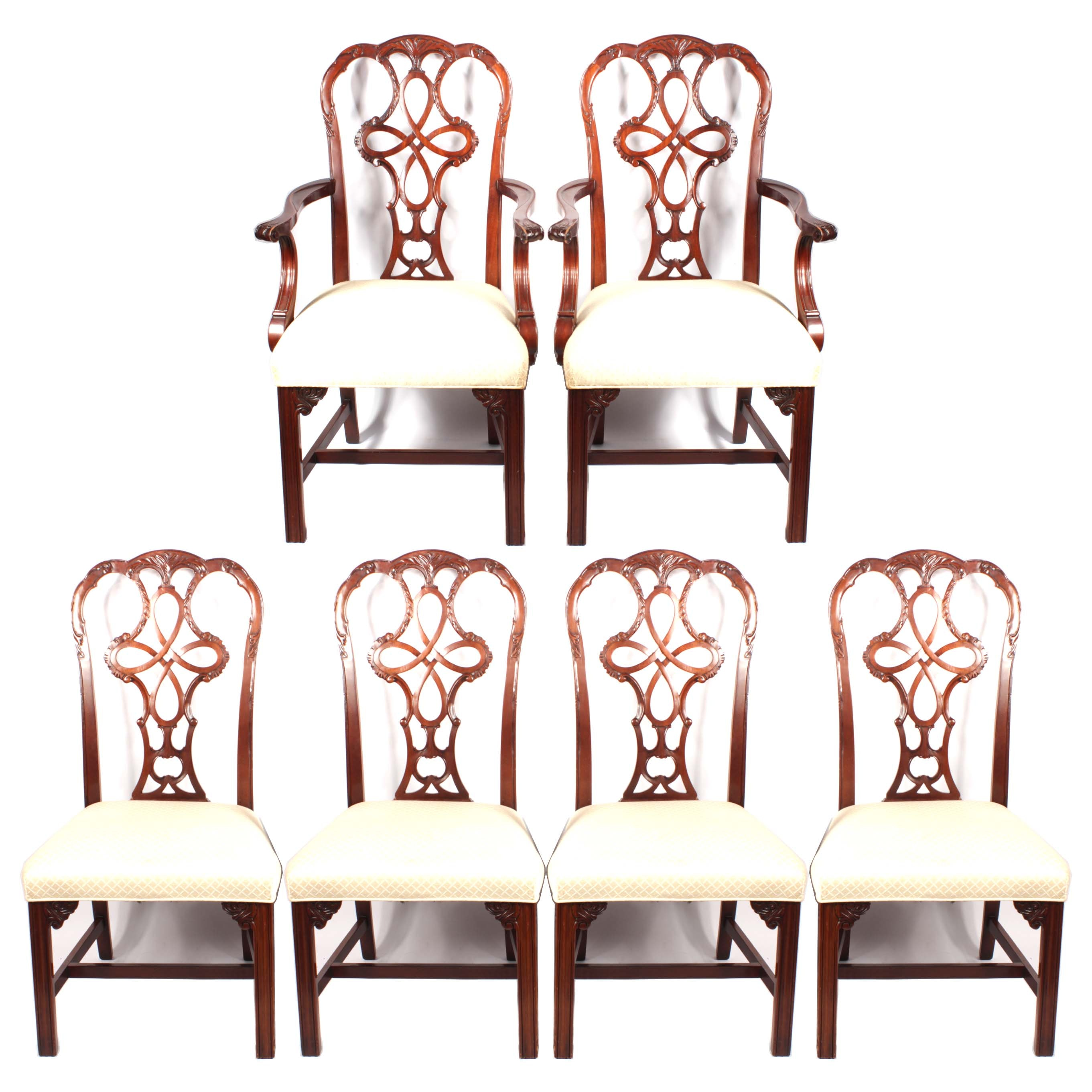 Georgian Style Mahogany Dining Chairs By Wellington Hall, 20th Century