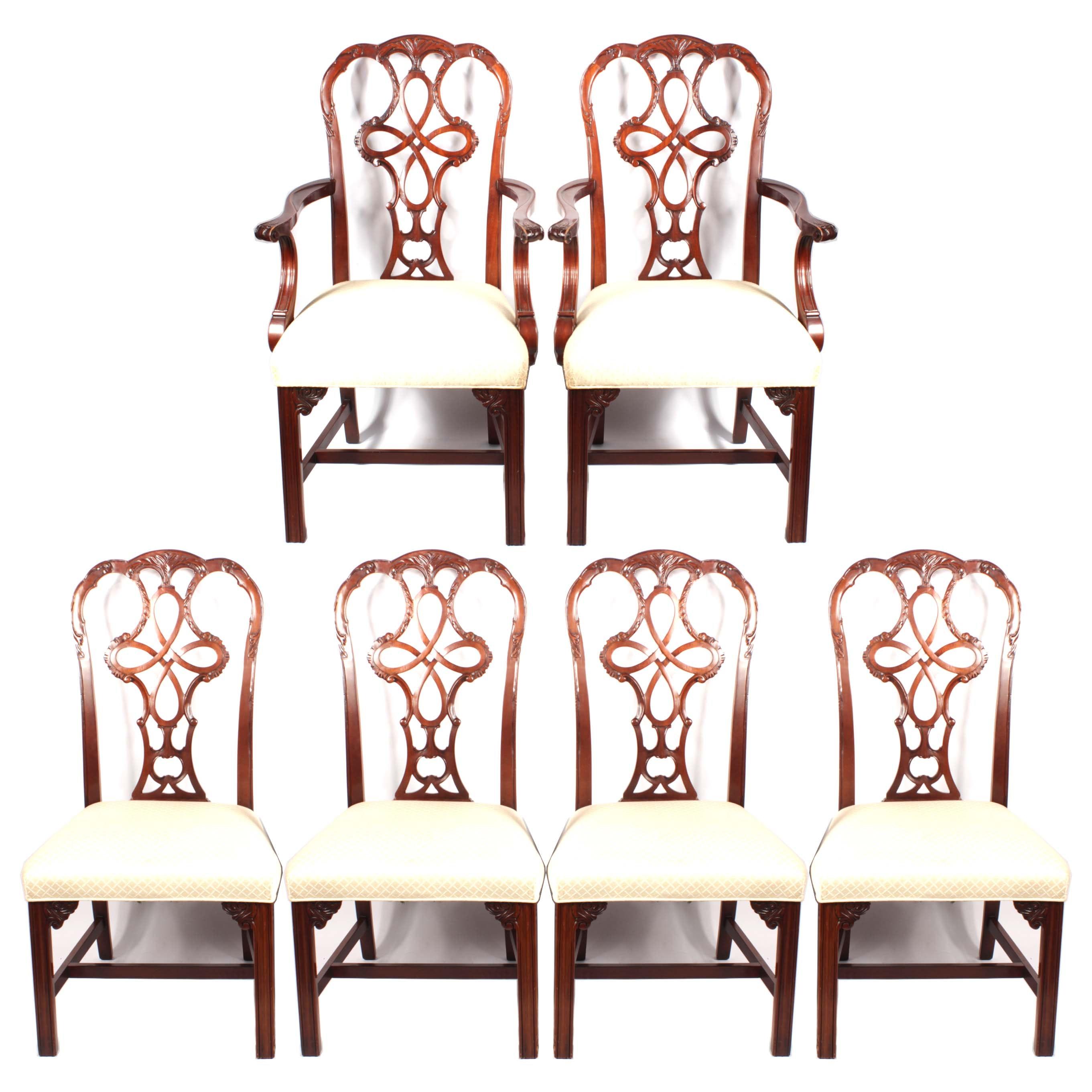Georgian Style Mahogany Dining Chairs By Wellington Hall, 20th Century