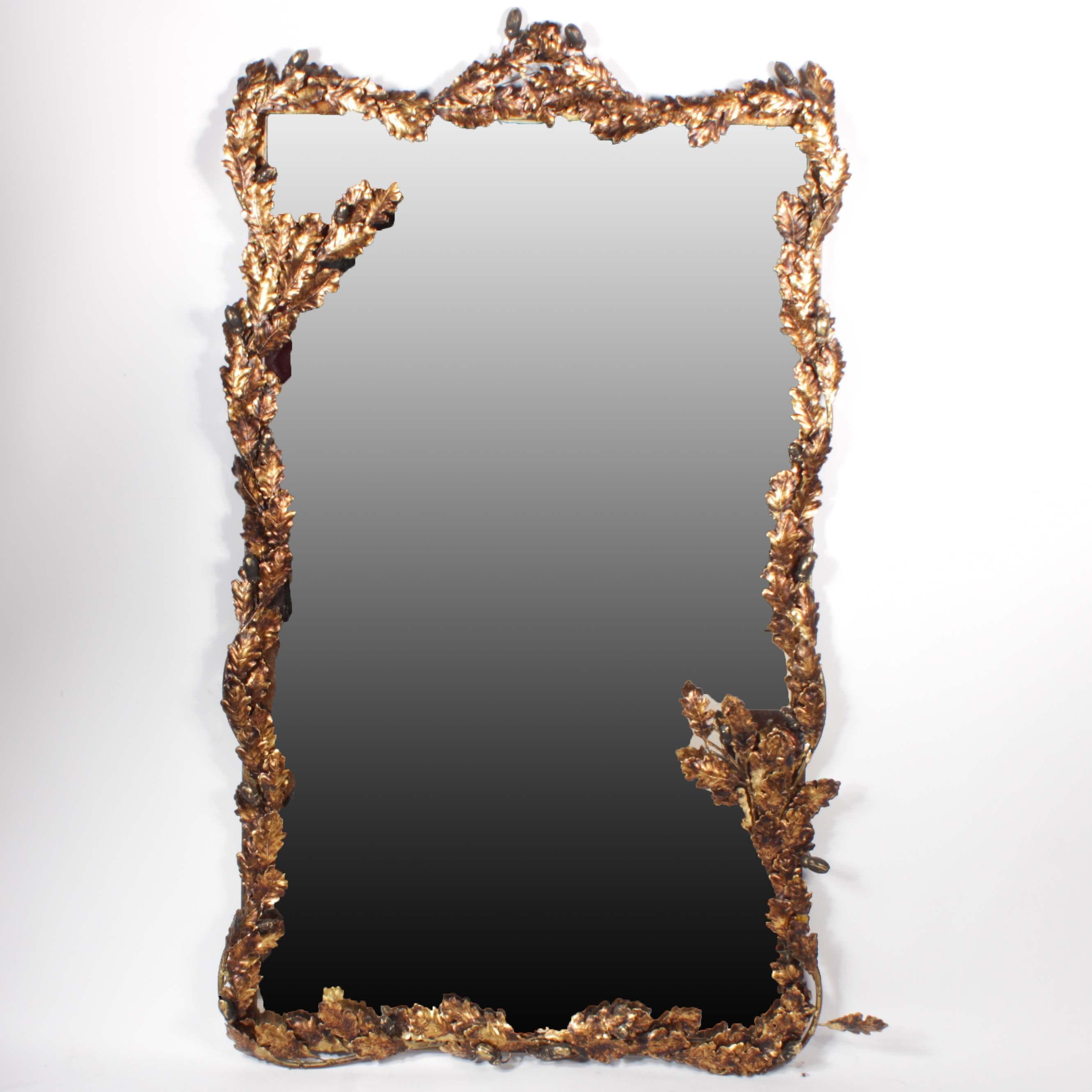 Cast Metal Oak Leaf and Acorn Wall Mirror