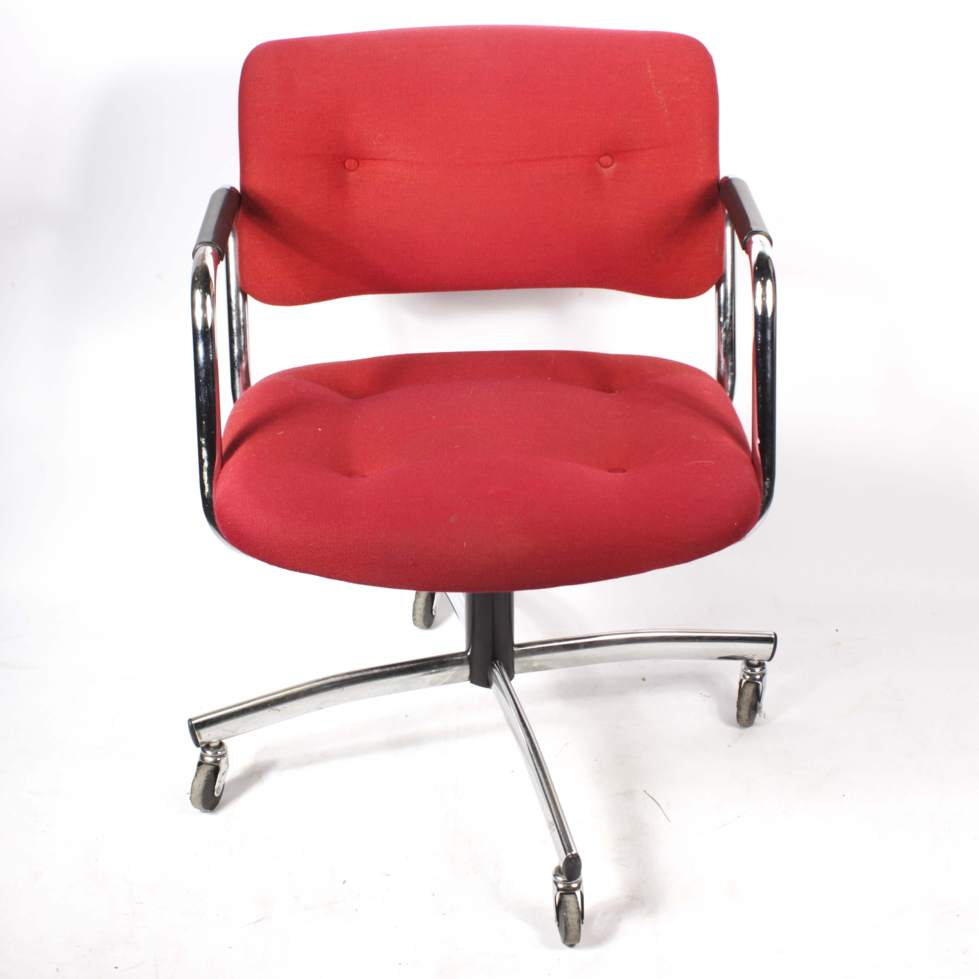 Chrome Frame Office Chair by Steelchase, Mid-20th Century