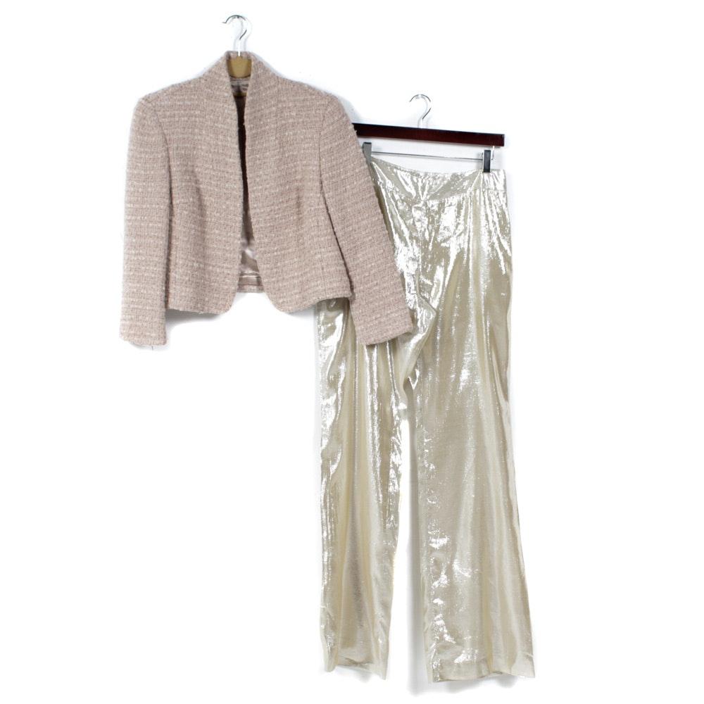 Vintage Oscar de la Renta Gold Lamé Pants and Bouclé Jacket