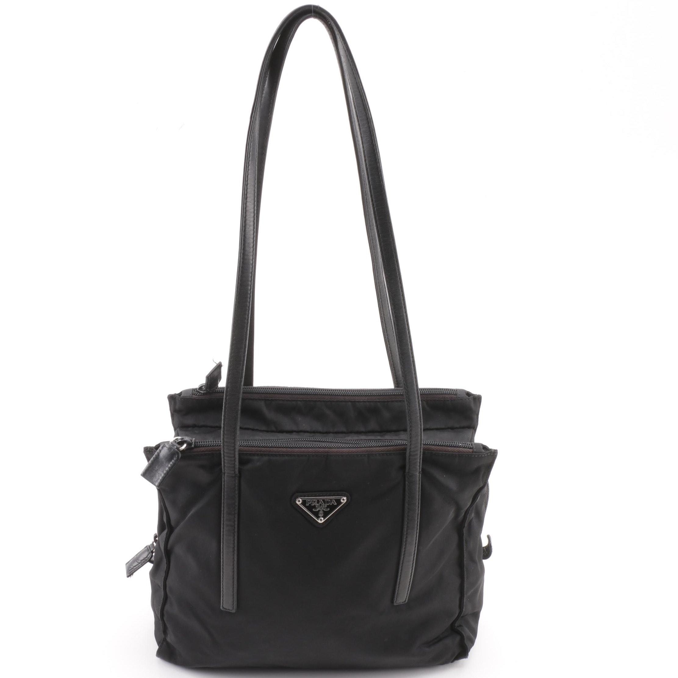 Prada Black Nylon Triple Zip Shoulder Bag