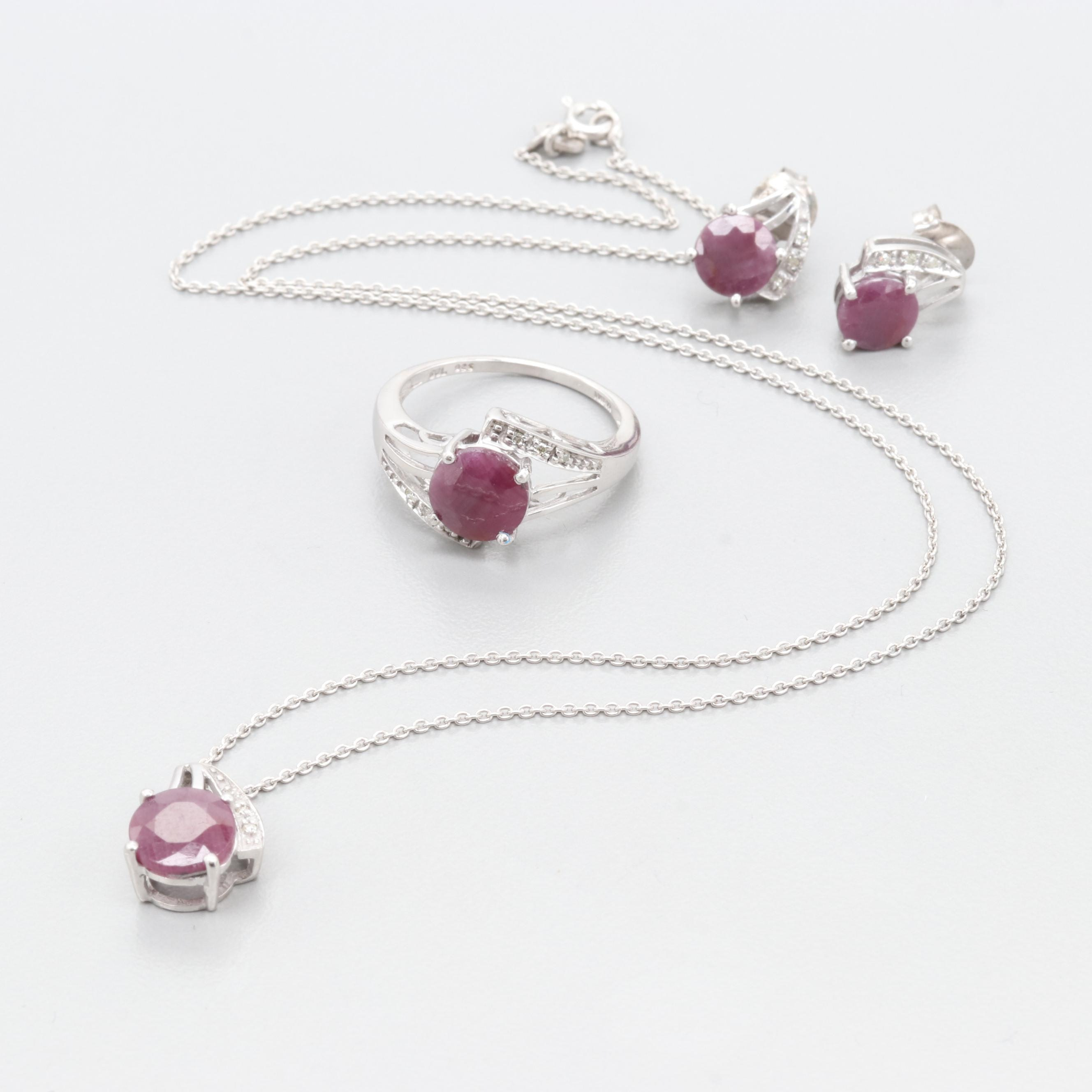 Sterling Silver Ruby and Diamond Necklace, Ring and Earrings