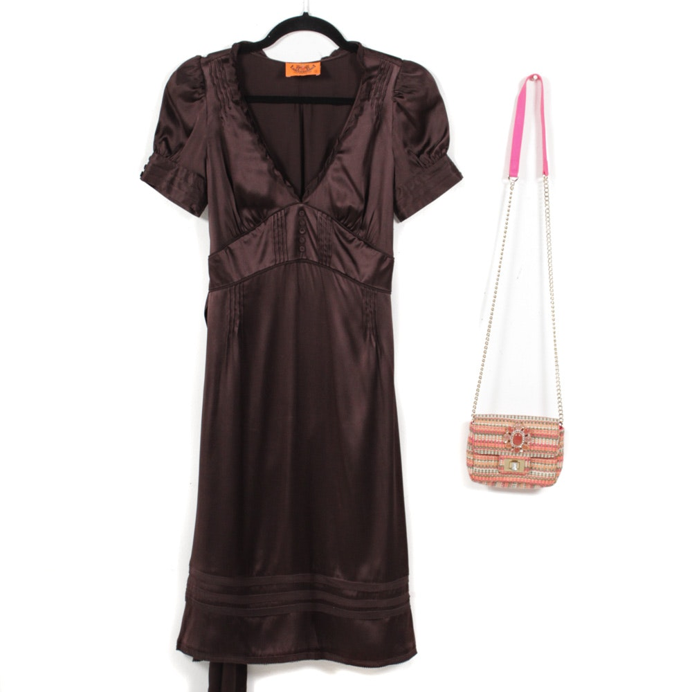 Juicy Couture Brown Satin Cocktail Dress and Juicy Woven Mini Bag