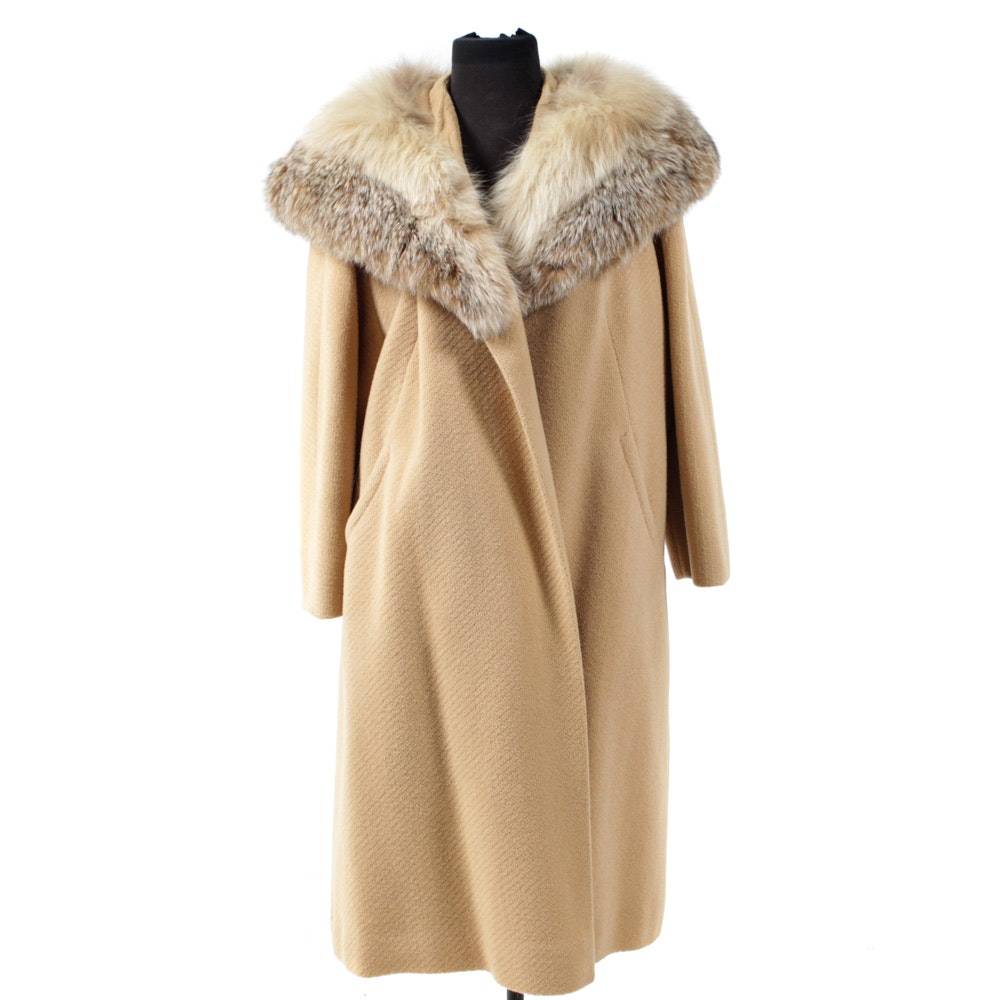 Vintage Car Coat with Canadian Lynx Fur Shawl Collar by The Halle Bros. Co.
