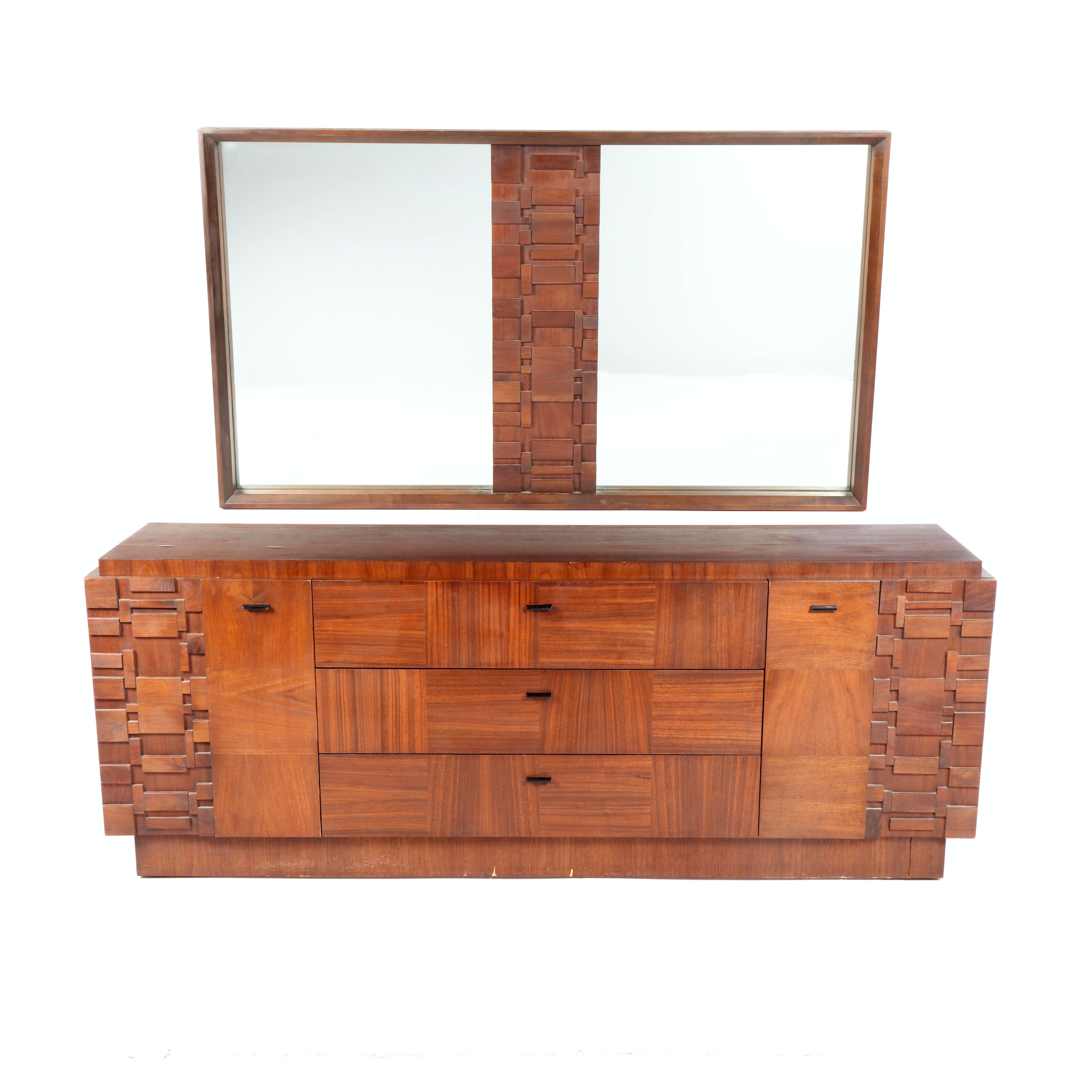 Brutalist Style Mixed Woods Low Chest of Drawers, Mid/Late 20th Century