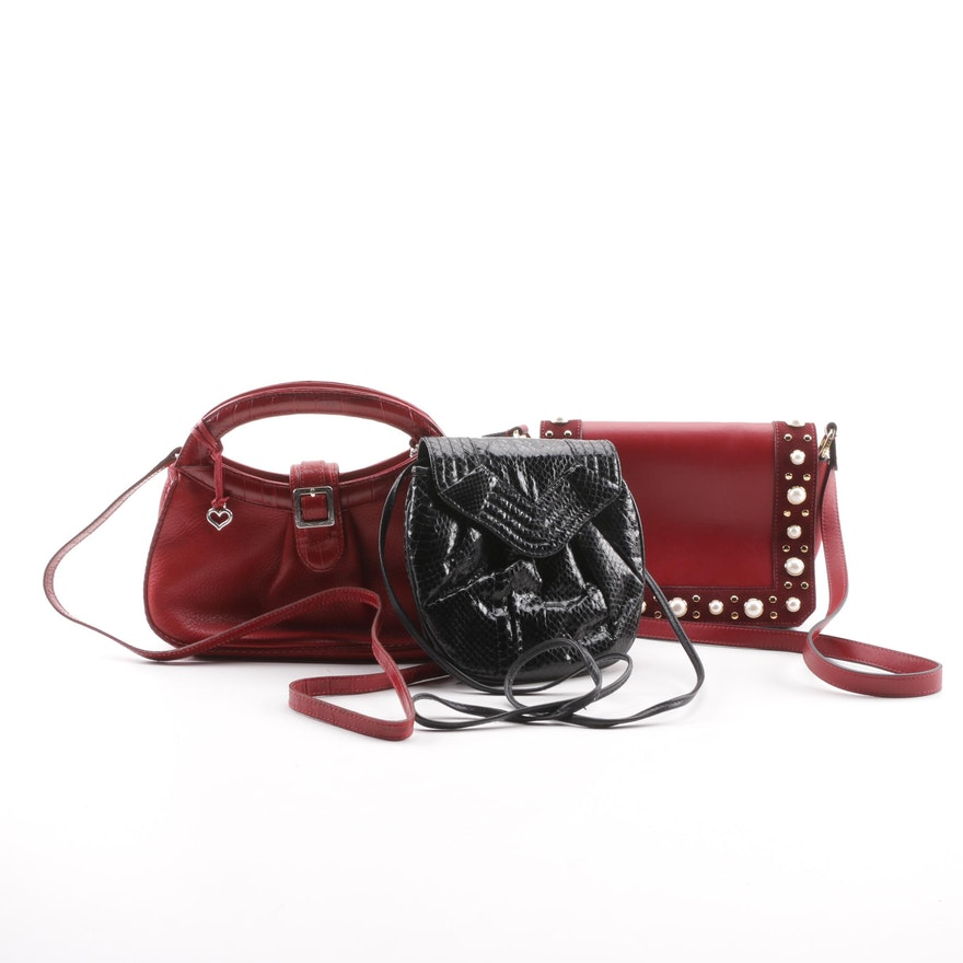 bcc1a38e7b72 Pantera Snakeskin with Brighton and Sandro Red Leather Handbags : EBTH