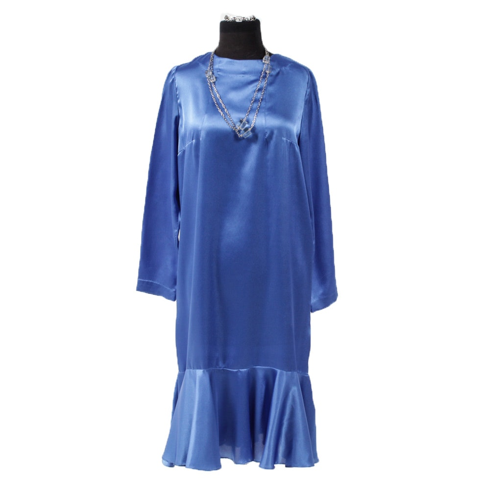 Vintage Blue Satin Dress with Silver Tone Crystal Necklace