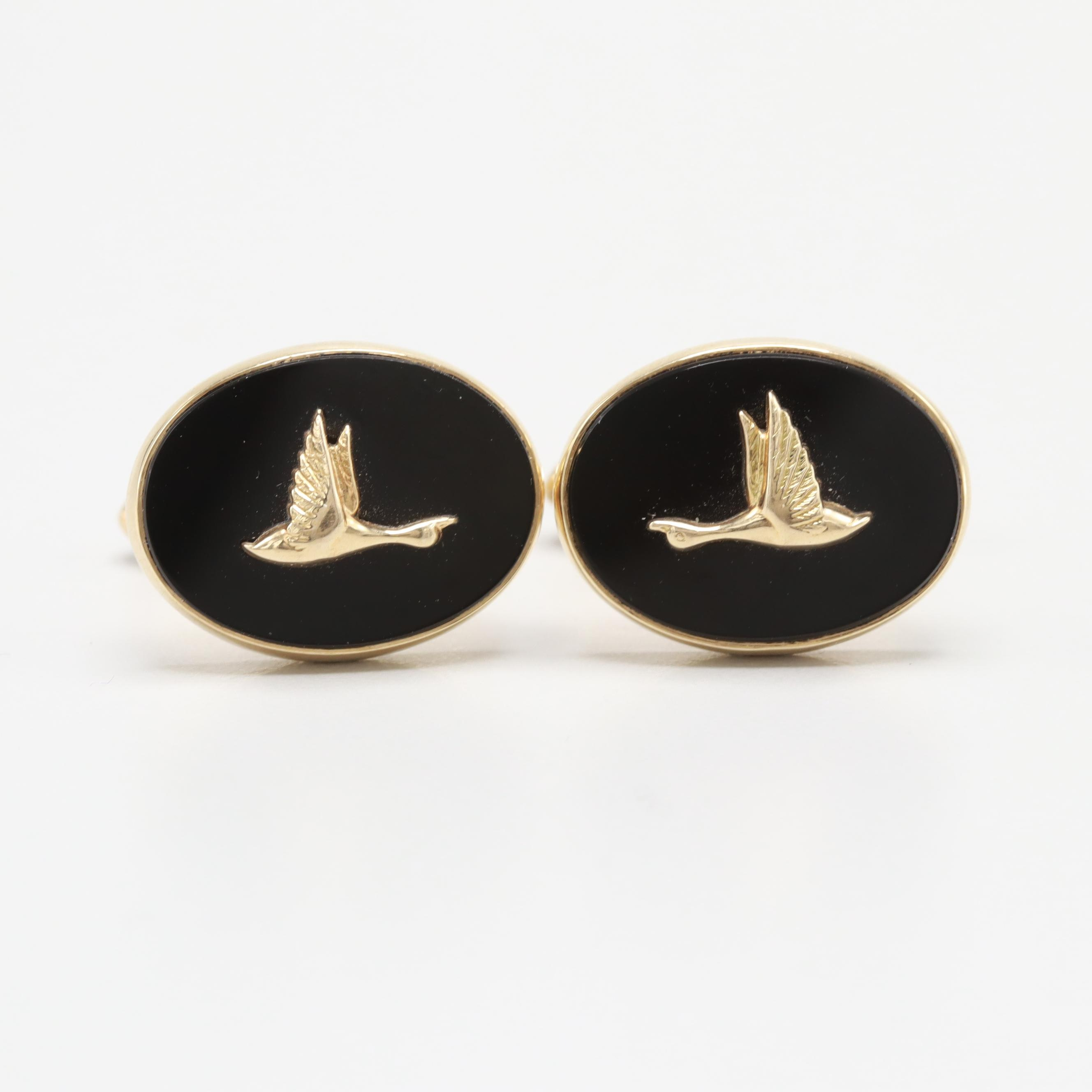 Larter & Sons 14K Yellow Gold Black Onyx Flying Geese Cufflinks