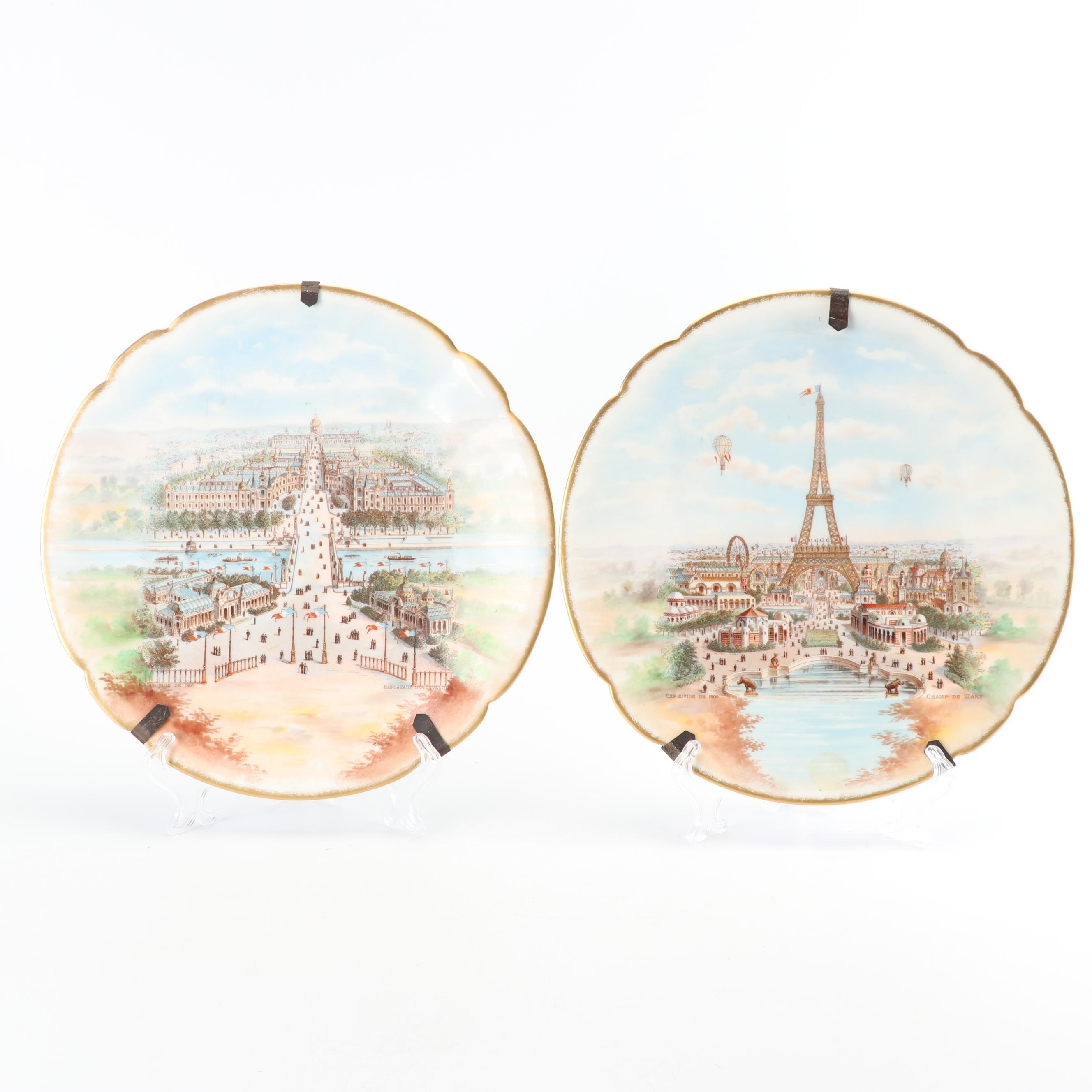 """Charles Ahrenfeldt Limoges """"Exposition de 1900"""" Decorative Porcelain Plates"""