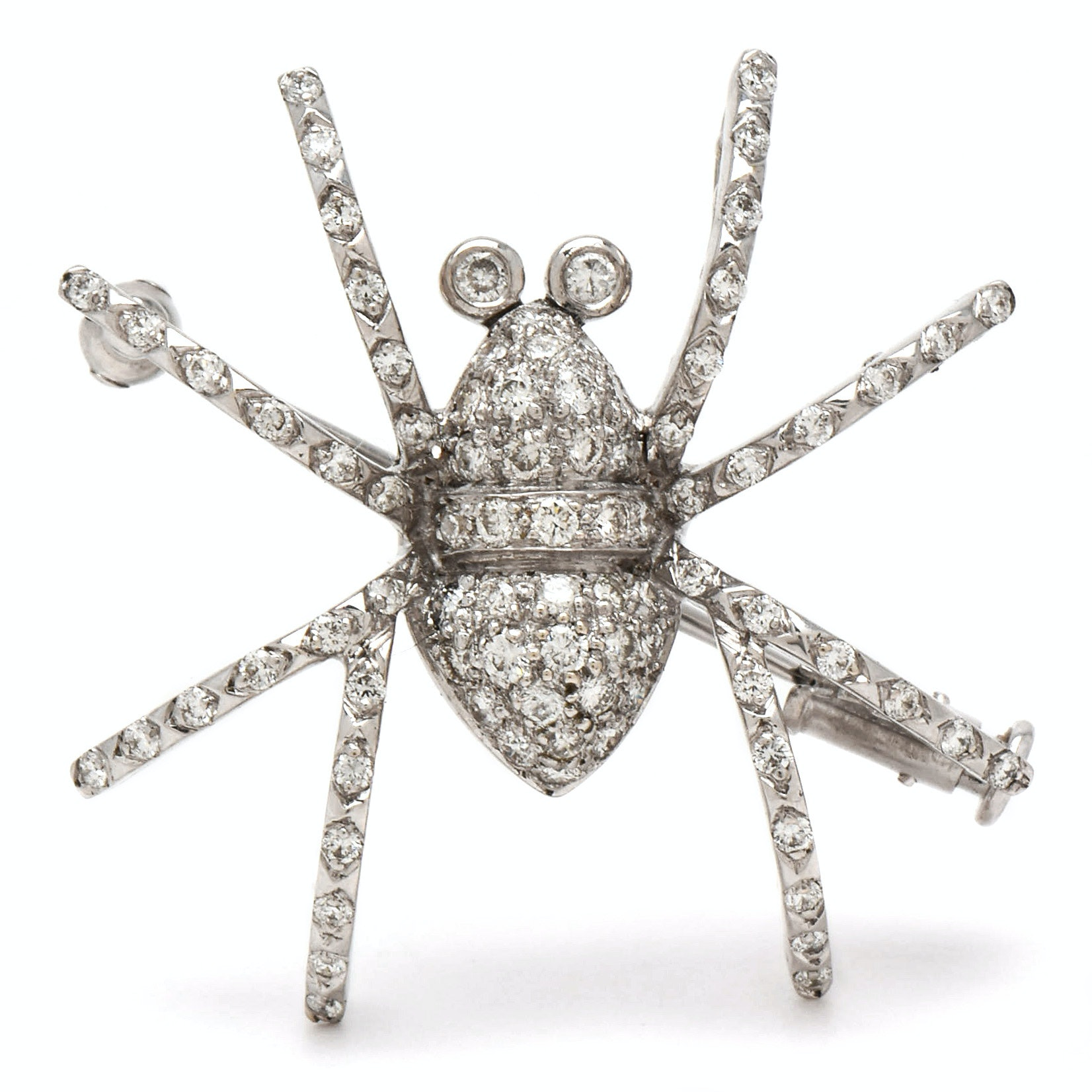 18K White Gold Diamond Spider Brooch with 14K White Gold Stem Pin