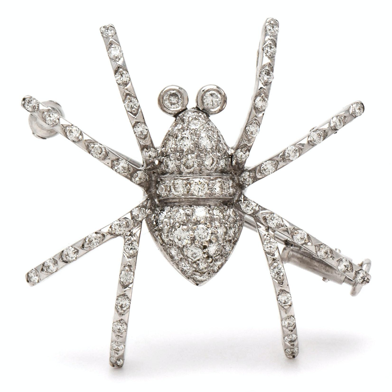 18K White Gold Diamond Spider Brooch with 14K White Gold Stem Pin
