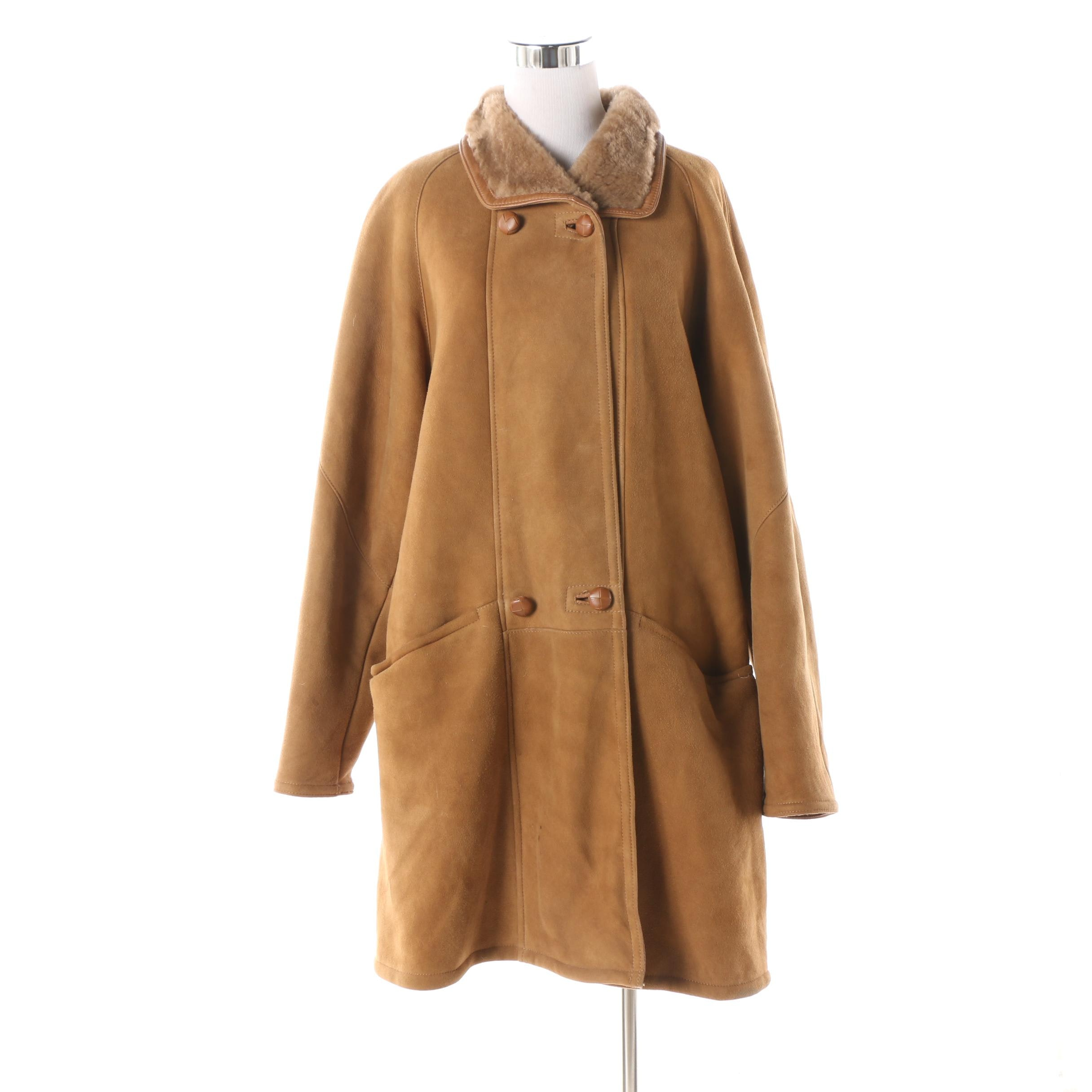 Women's Friitala of Finland Brown Shearling and Suede Coat