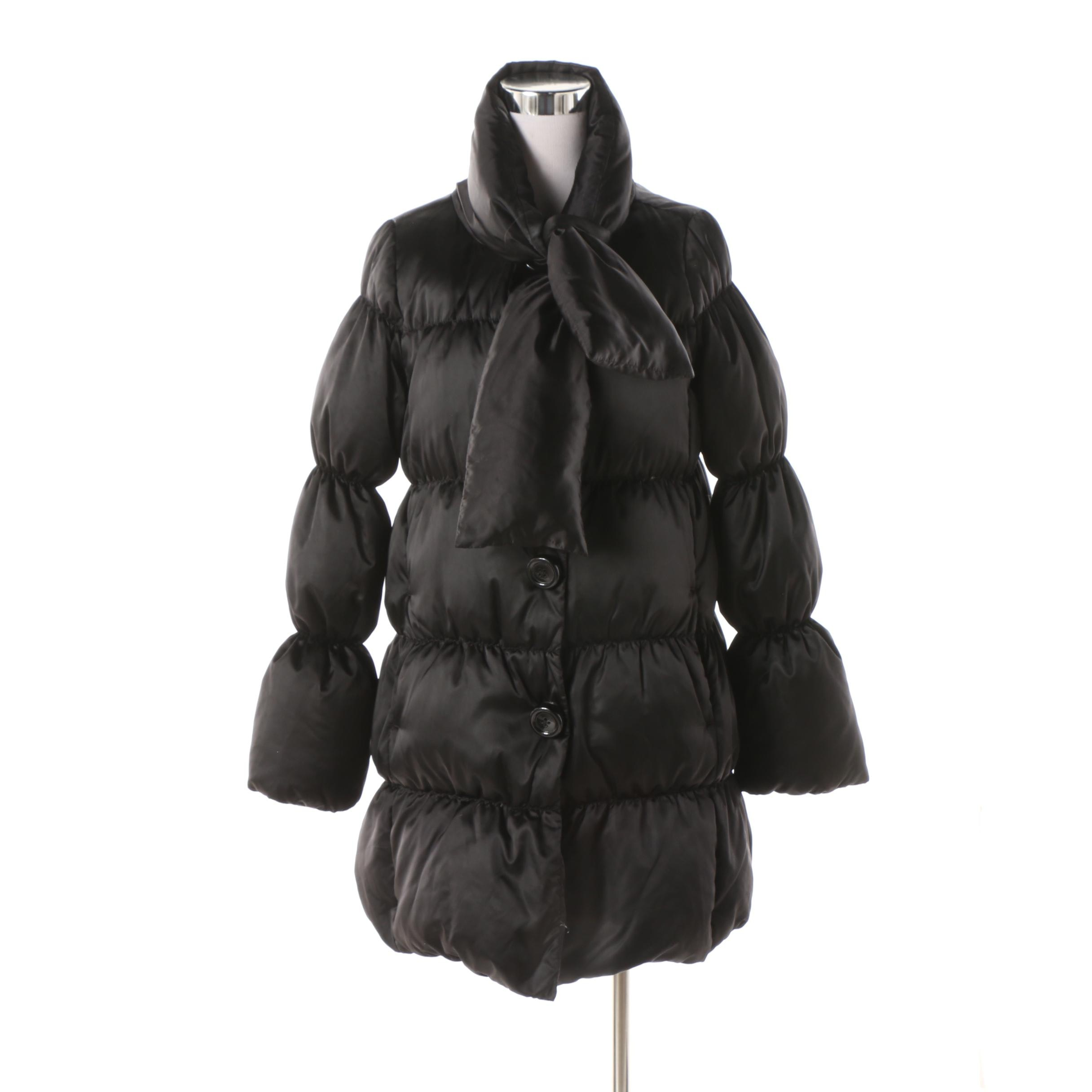 Kate Spade New York Black Puffer Coat with Polka Dot Lining