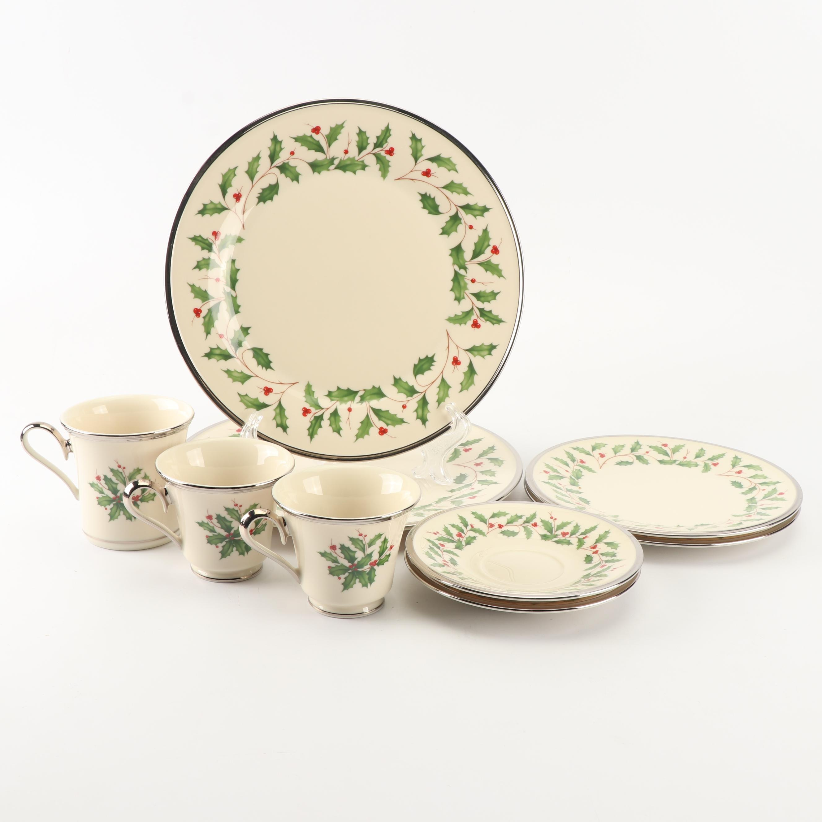 "Lenox ""Holiday Platinum"" Bone China Dinnerware"