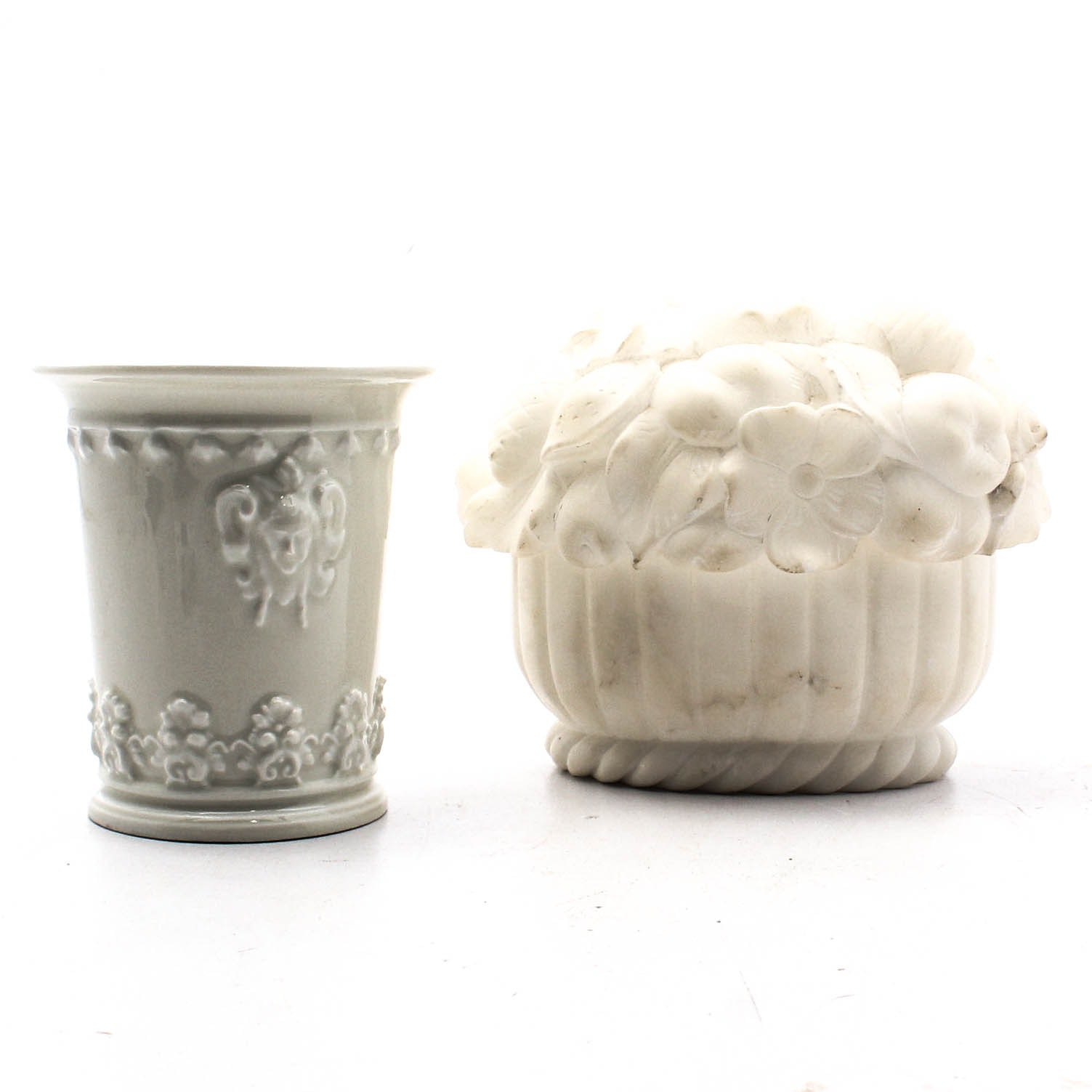 Alabaster Lidded Bowl and Limoges Reproduction Meissen Inspired Beaker