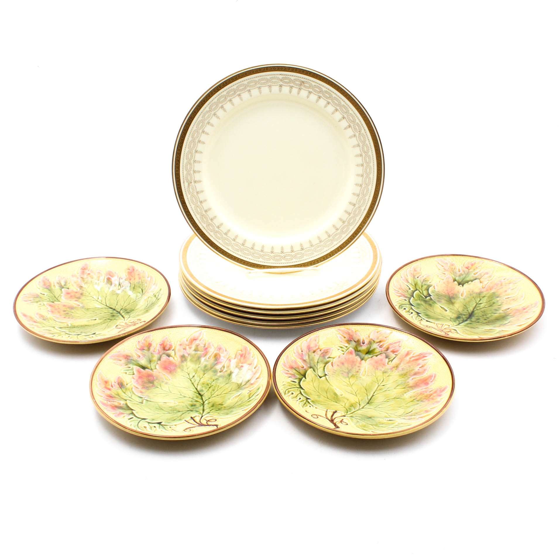 Cauldon Bone China Dinner Plates with Majolica Style Leaf Plates
