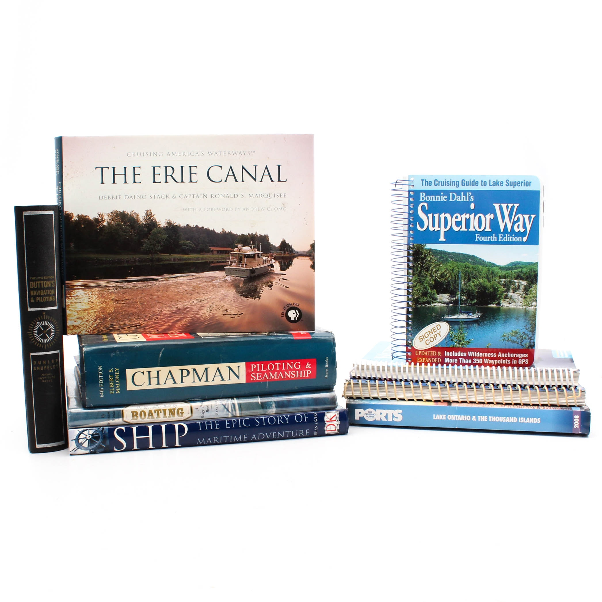 Boat History and Navigation Book Collection with Great Lakes Cruising Guides