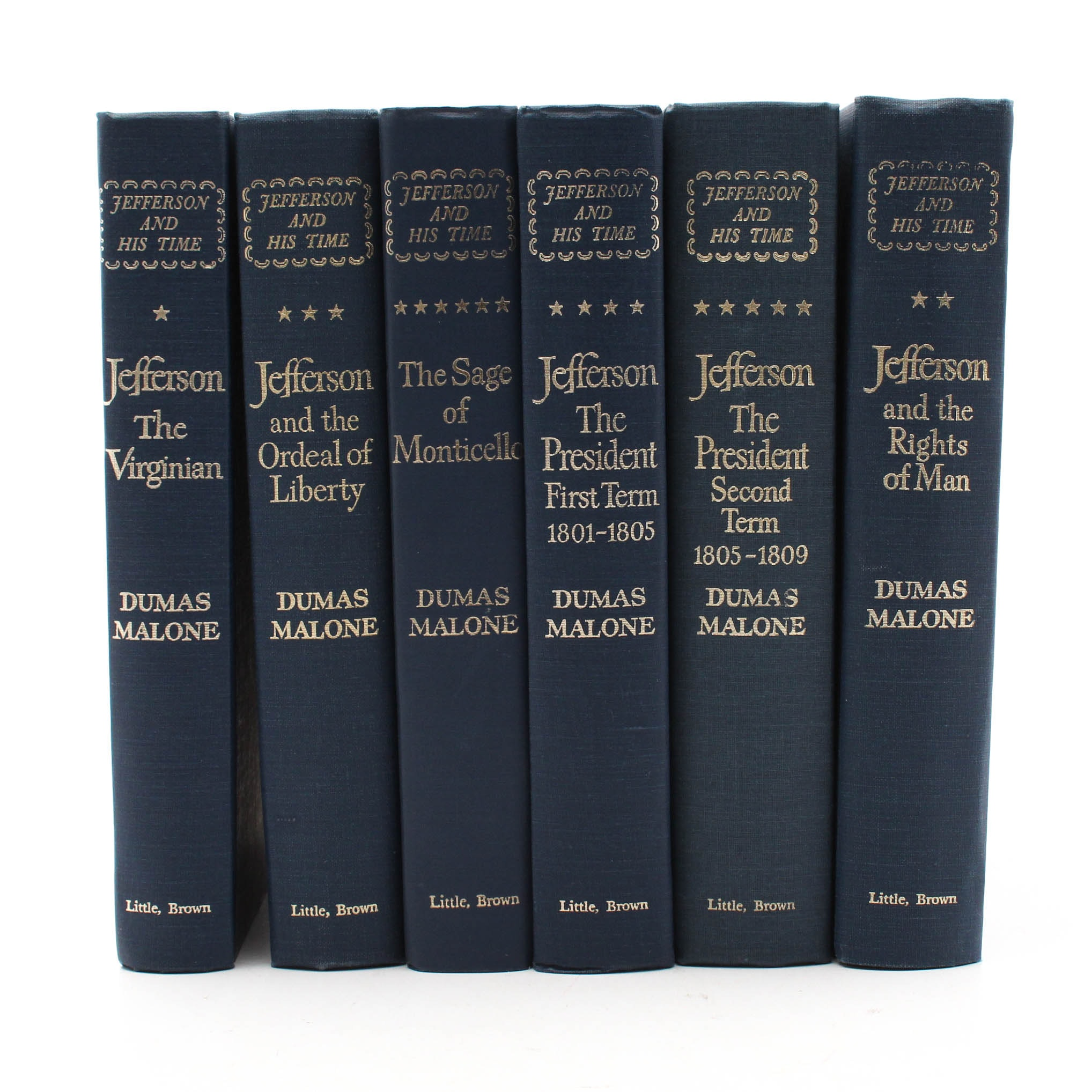 """1951 """"Jefferson and His Time"""" by Dumas Malone Six Volume Set"""