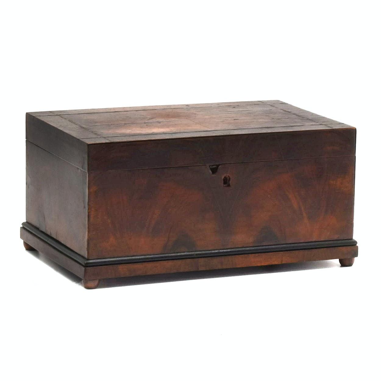 19th Century Mahogany Veneer Jewelry Box With Hidden Drawers