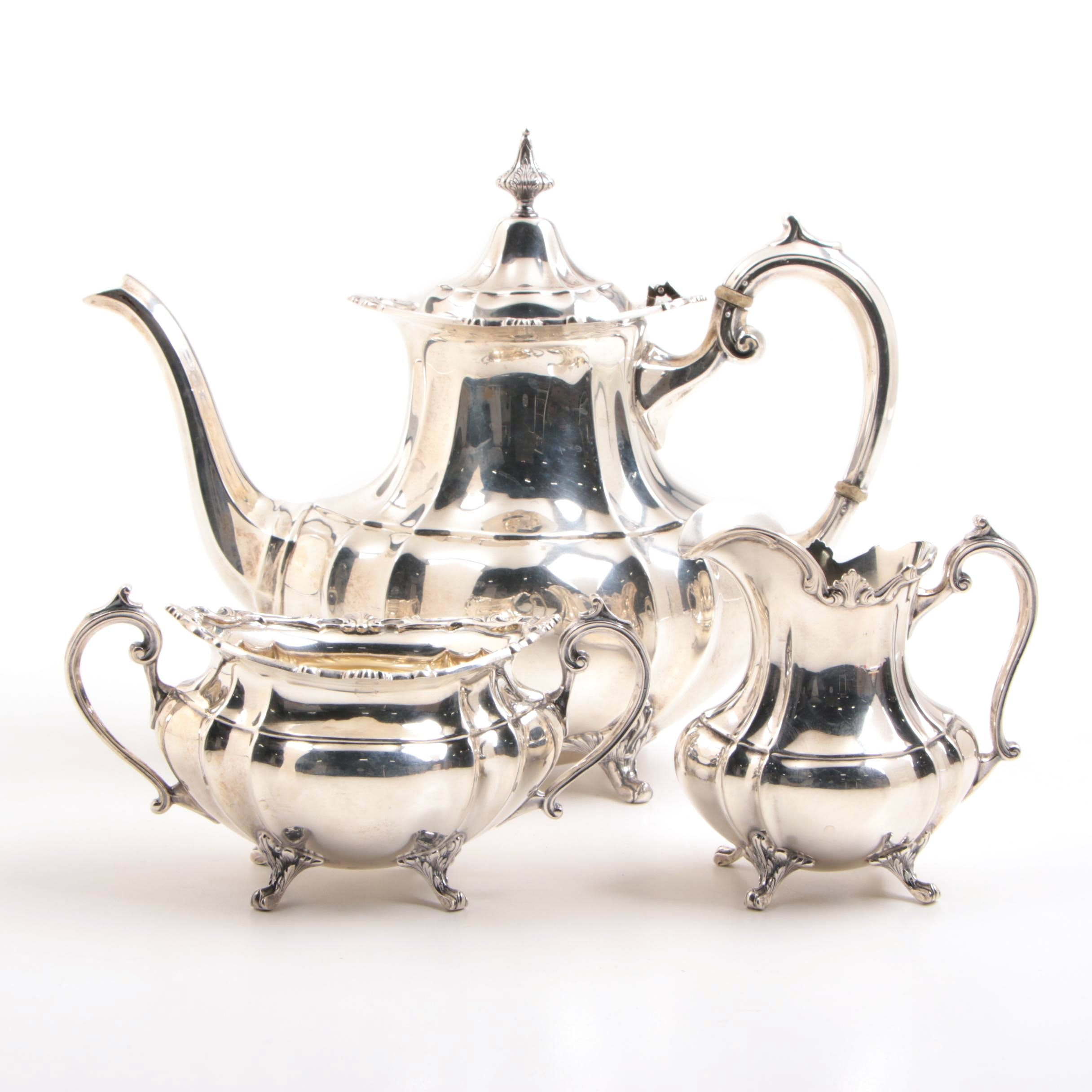"American Sterling Silver Reed & Barton Three Piece Tea Service, ""Hampton Court"""