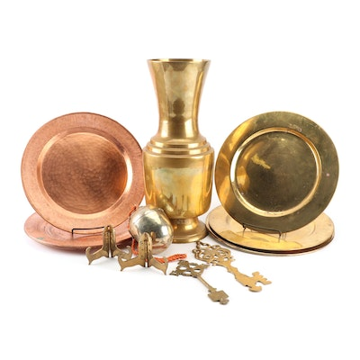 Brass and Copper Chargers, Vase and Decor